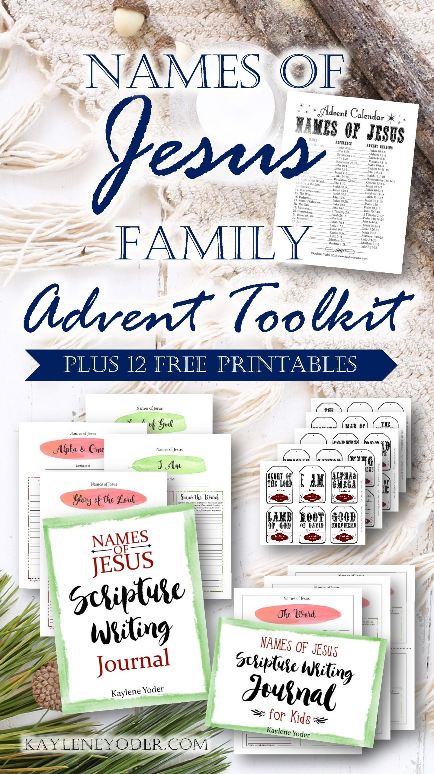 Names Of Jesus Advent Pack For Your Family! - Kaylene Yoder with Verses For Your Advent Calender