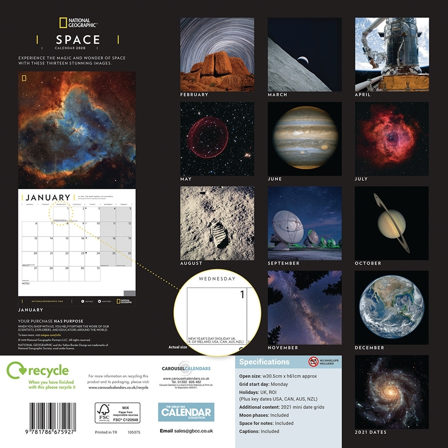 National Geographic 'Space' 2020 Wall Calendar - National
