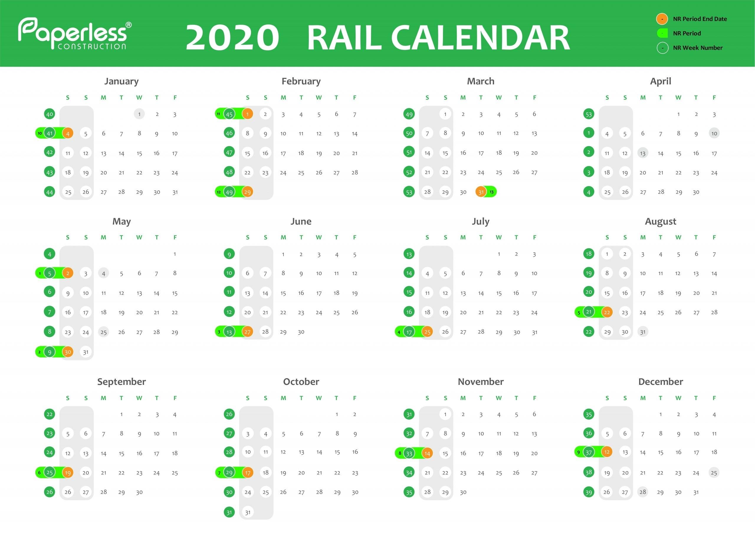 Network Rail Week Calendar - Paperless Construction