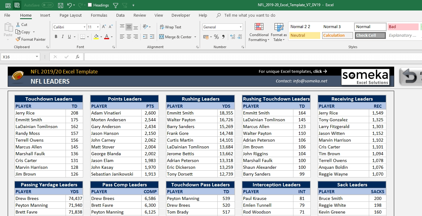 Nfl 2020-2021 Excel Template | Track Nfl Schedule In Excel! throughout Nfl Schedule 2019 2020 Excel