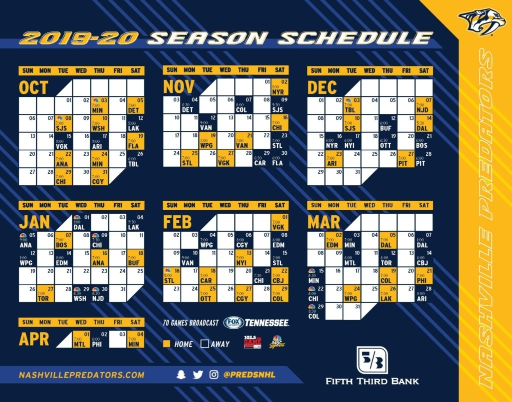 Nhl Nashville Predators Schedule | Tiruvannamalai.idt.ac.in with Nashville Predators Printable Calendar Schedule
