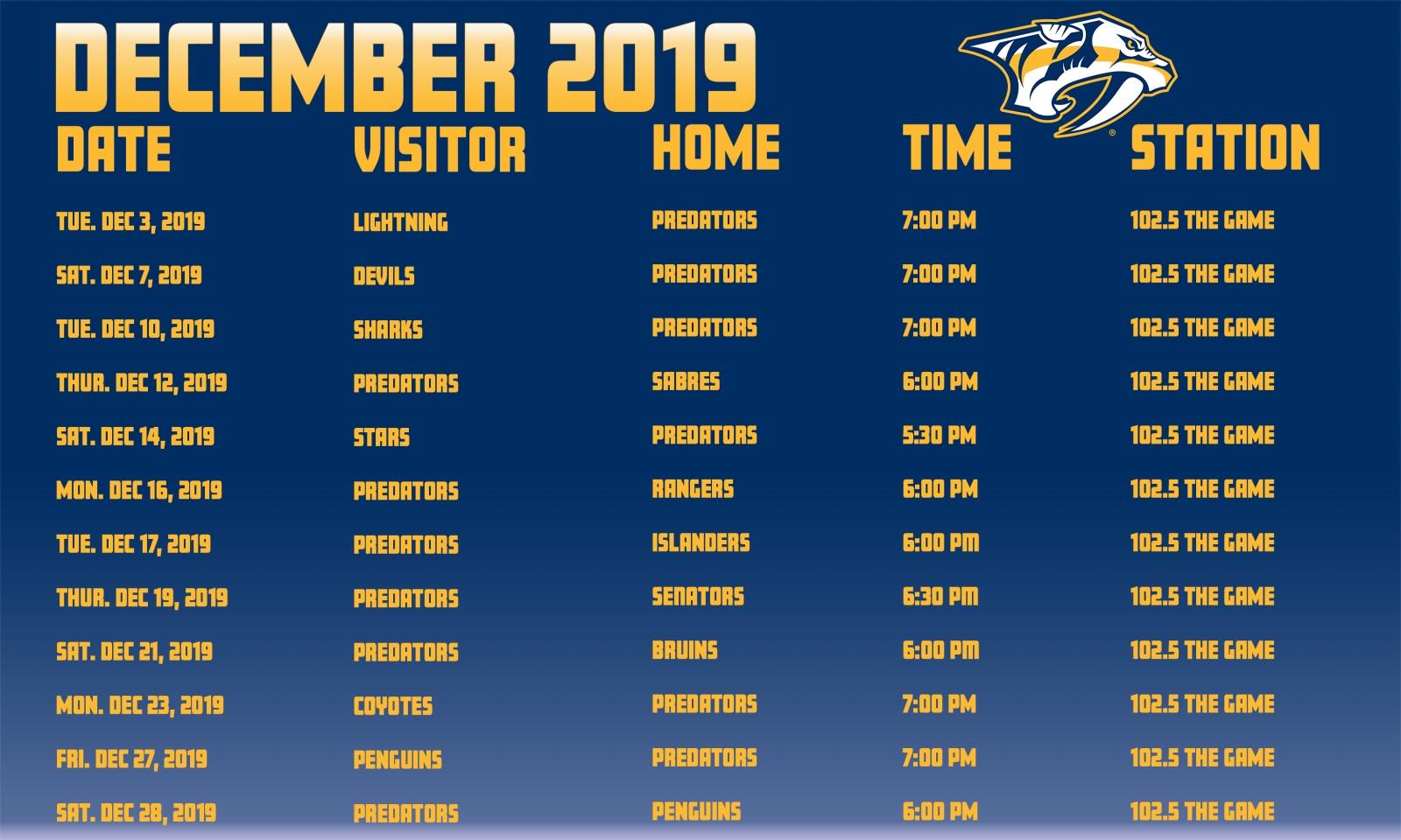 Nhl Predators Schedule with Nashville Predators 2019 2020 Schedule