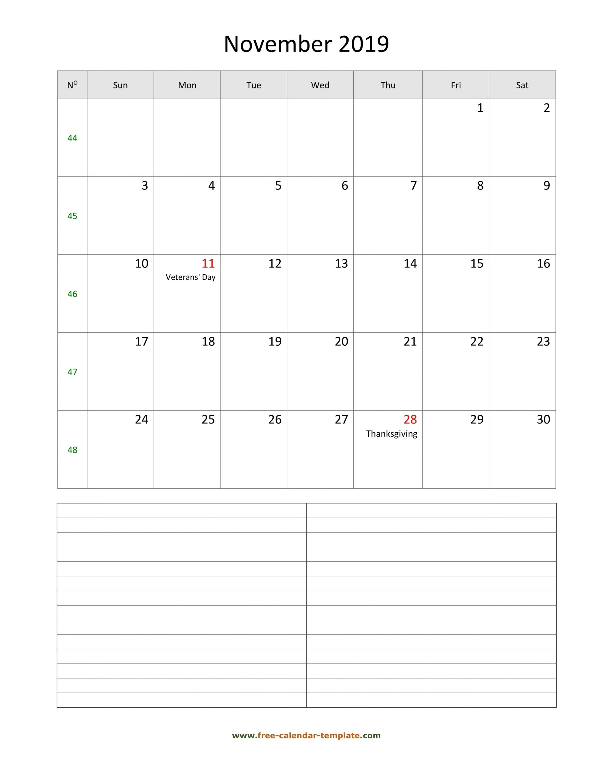 November 2019 Free Calendar Tempplate | Free-Calendar intended for Fill In Calendar 2019 Pdf