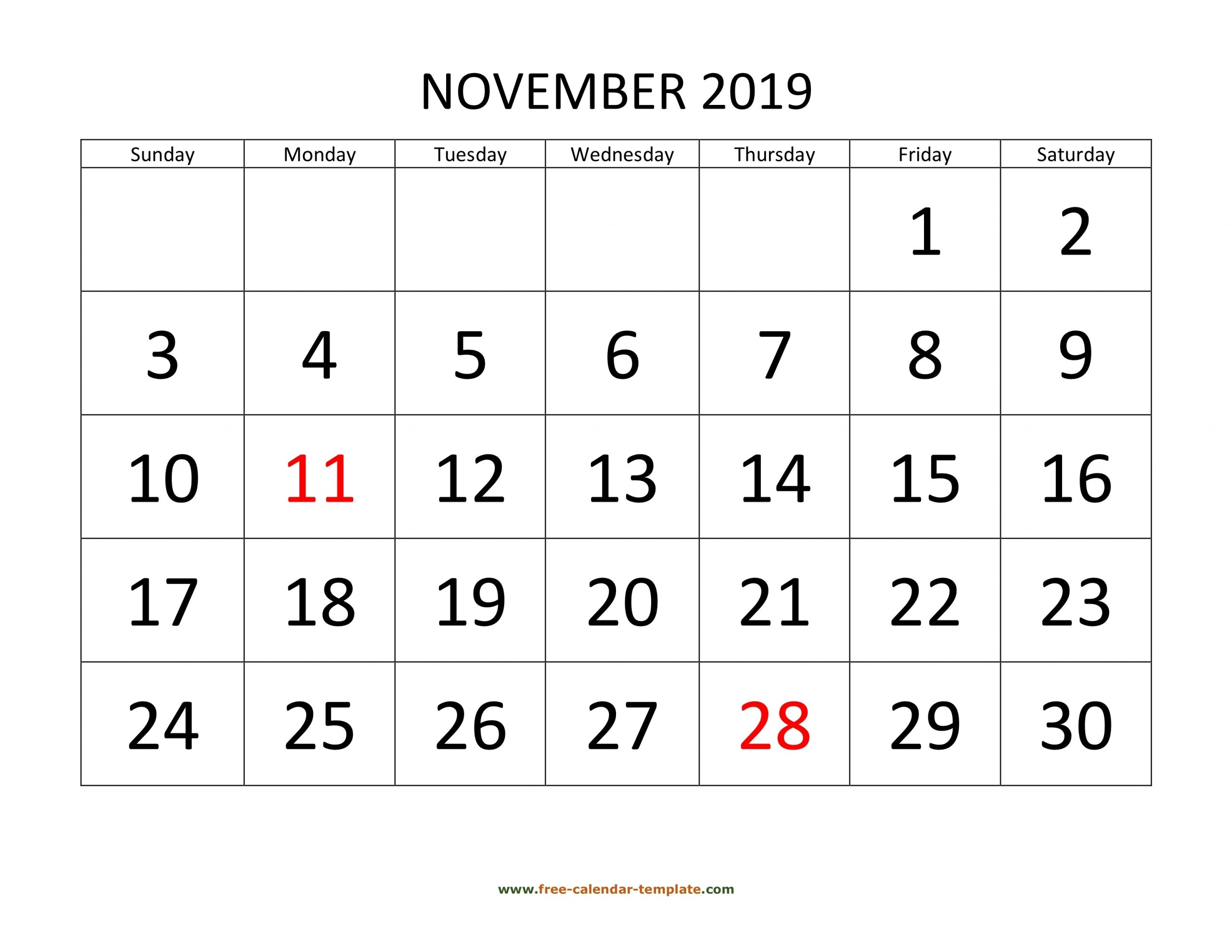 November 2019 Free Calendar Tempplate | Free-Calendar throughout Fill In Calendar 2019 Pdf