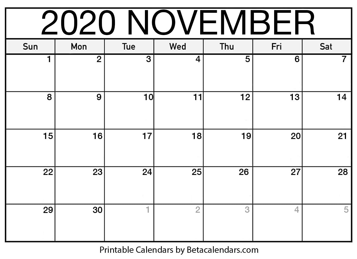 November 2020 Calendar | Blank Printable Monthly Calendars with regard to Individual Monthly Printable Calendars For 2020 And 2021