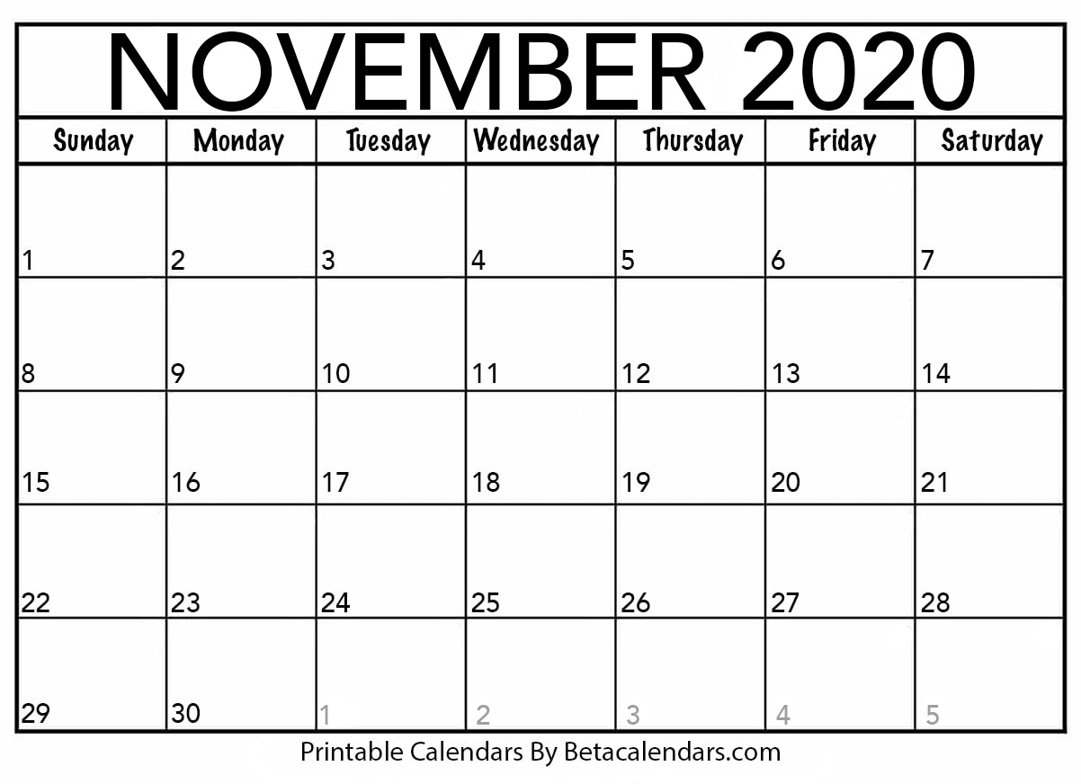 November 2020 Calendar | Blank Printable Monthly Calendars