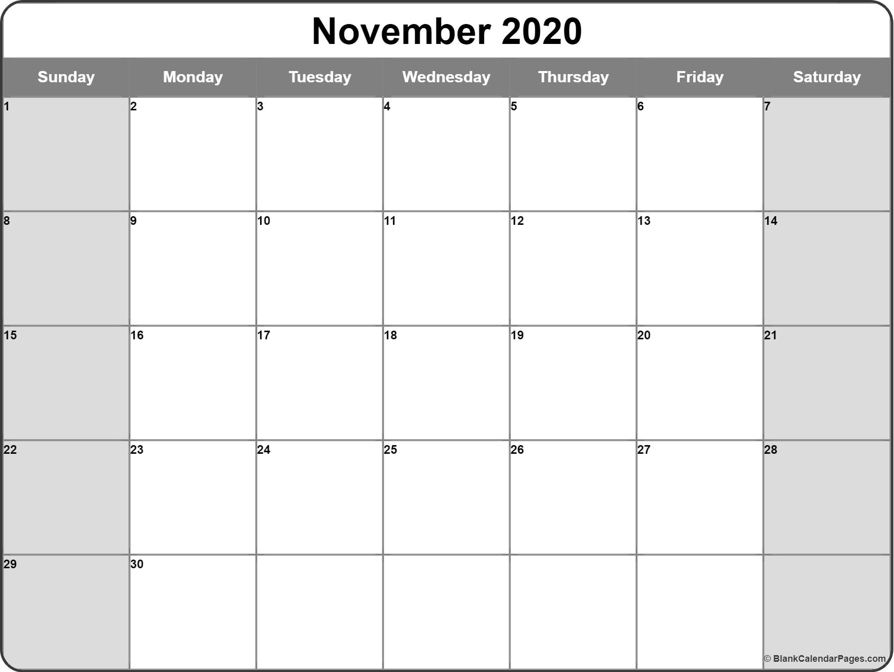 November 2020 Calendar | Free Printable Monthly Calendars throughout Printable Chalander With Space To Right For 2020