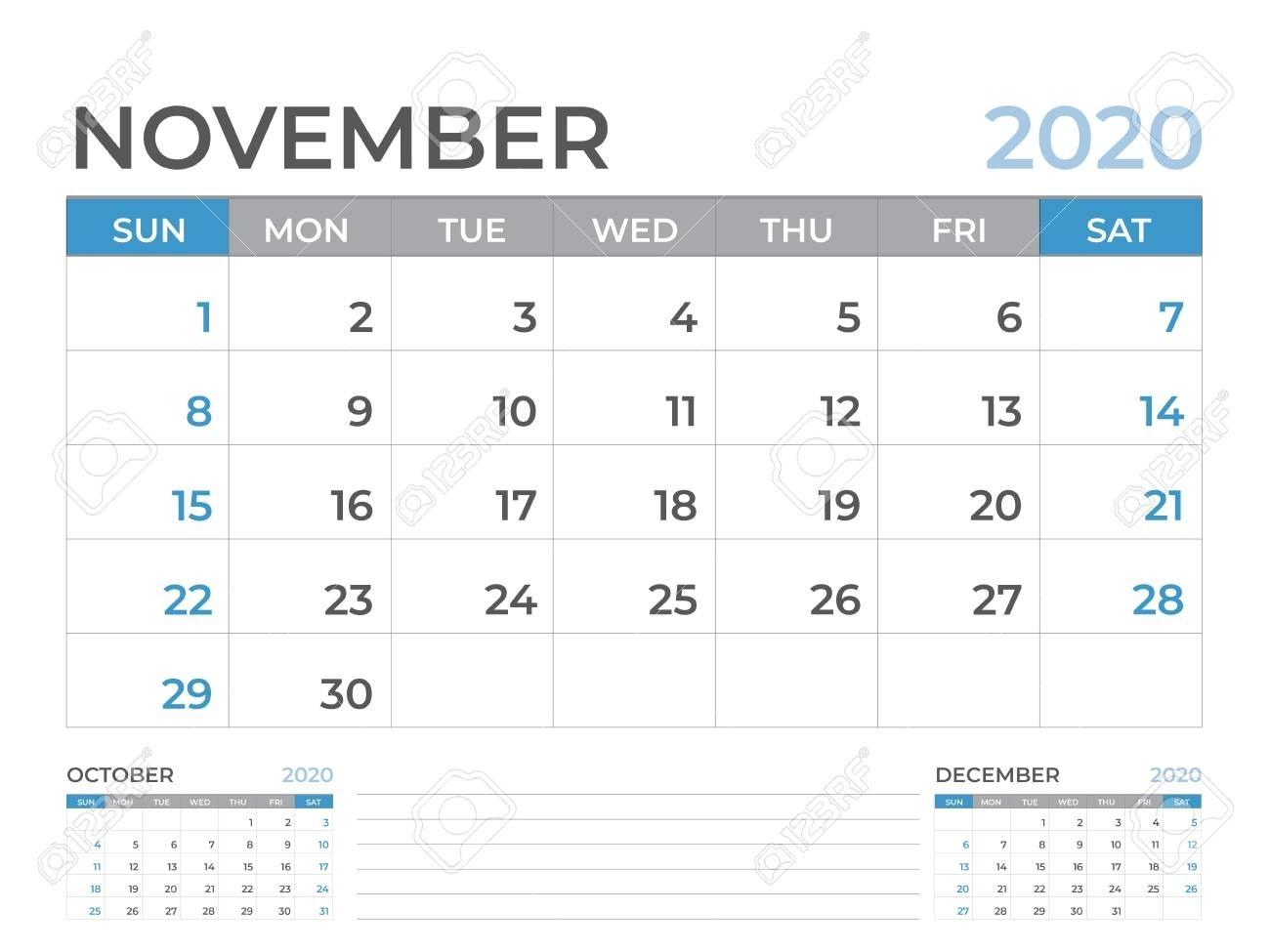 November 2020 Calendar Template, Desk Calendar Layout Size 8.. within 8 X 10 Calendar 2020