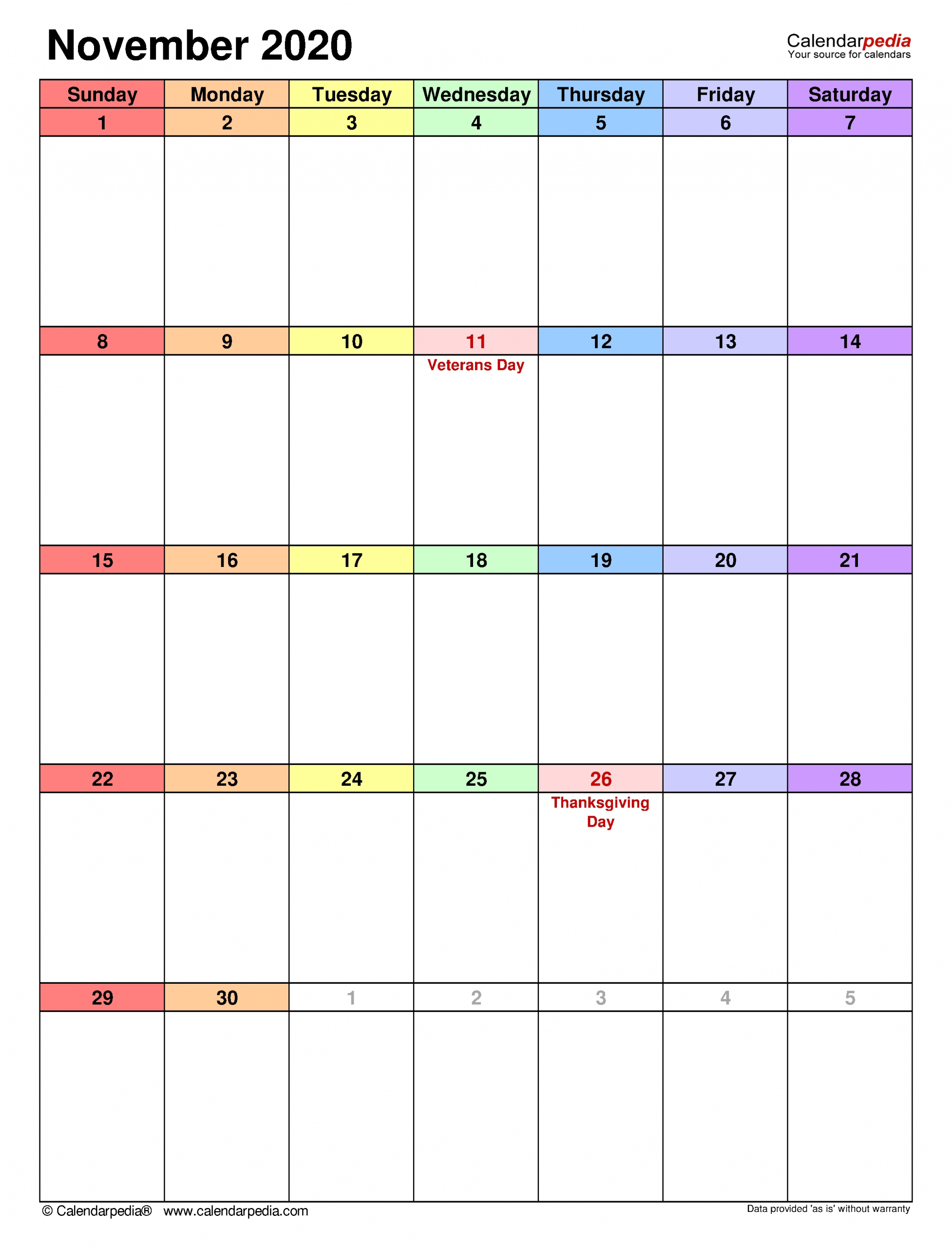 November 2020 Calendar | Templates For Word, Excel And Pdf with regard to Printable Chalander With Space To Right For 2020