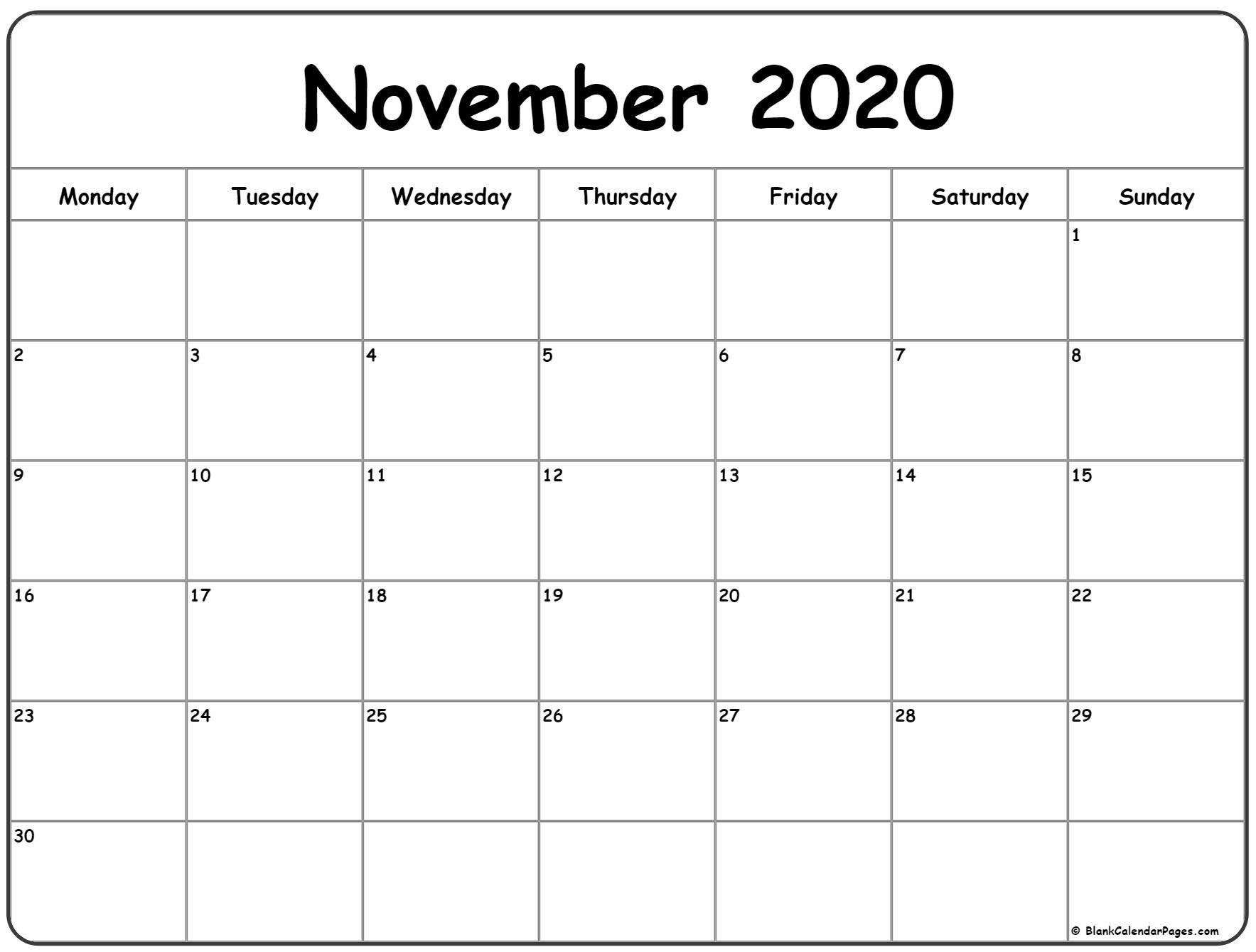 November 2020 Monday Calendar   Monday To Sunday In 2020 regarding 2020 Month Calendar Sunday Through Saturday