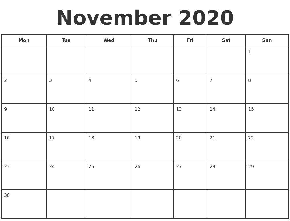 November 2020 Print A Calendar 2020 Calendar Style 3 Free