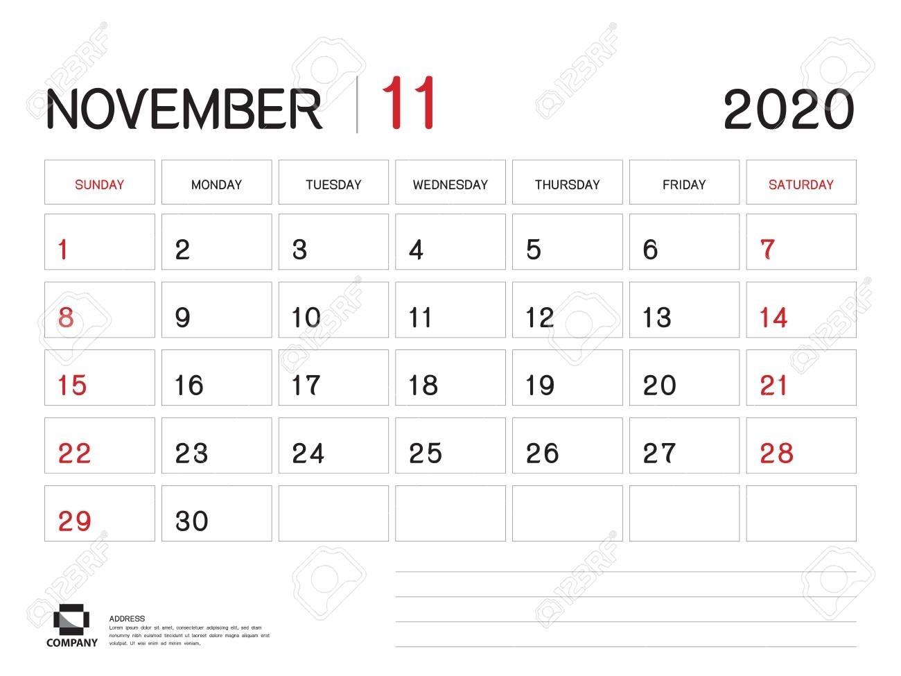 November 2020 Year Template, Calendar 2020, Desk Calendar Design,.. pertaining to 8 X 10 Calendar 2020