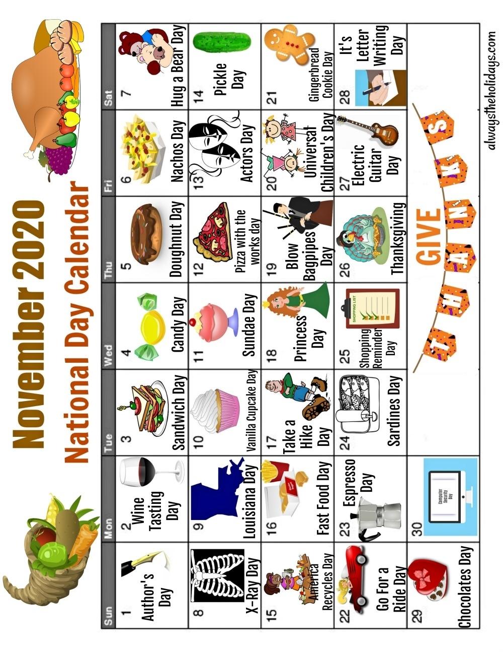 November National Day Calendar - Free Printable Calendars