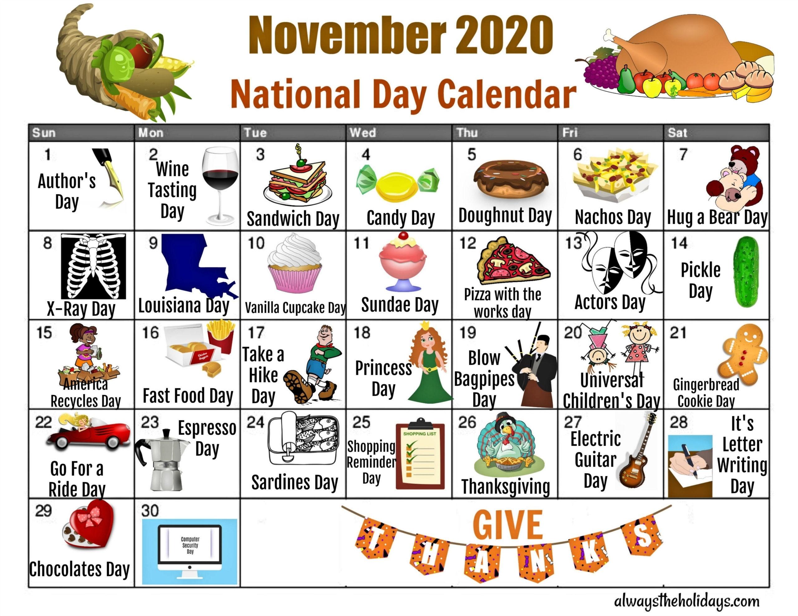 November National Day Calendar - Free Printable Calendars regarding Free Priintable Calendar Day By Day