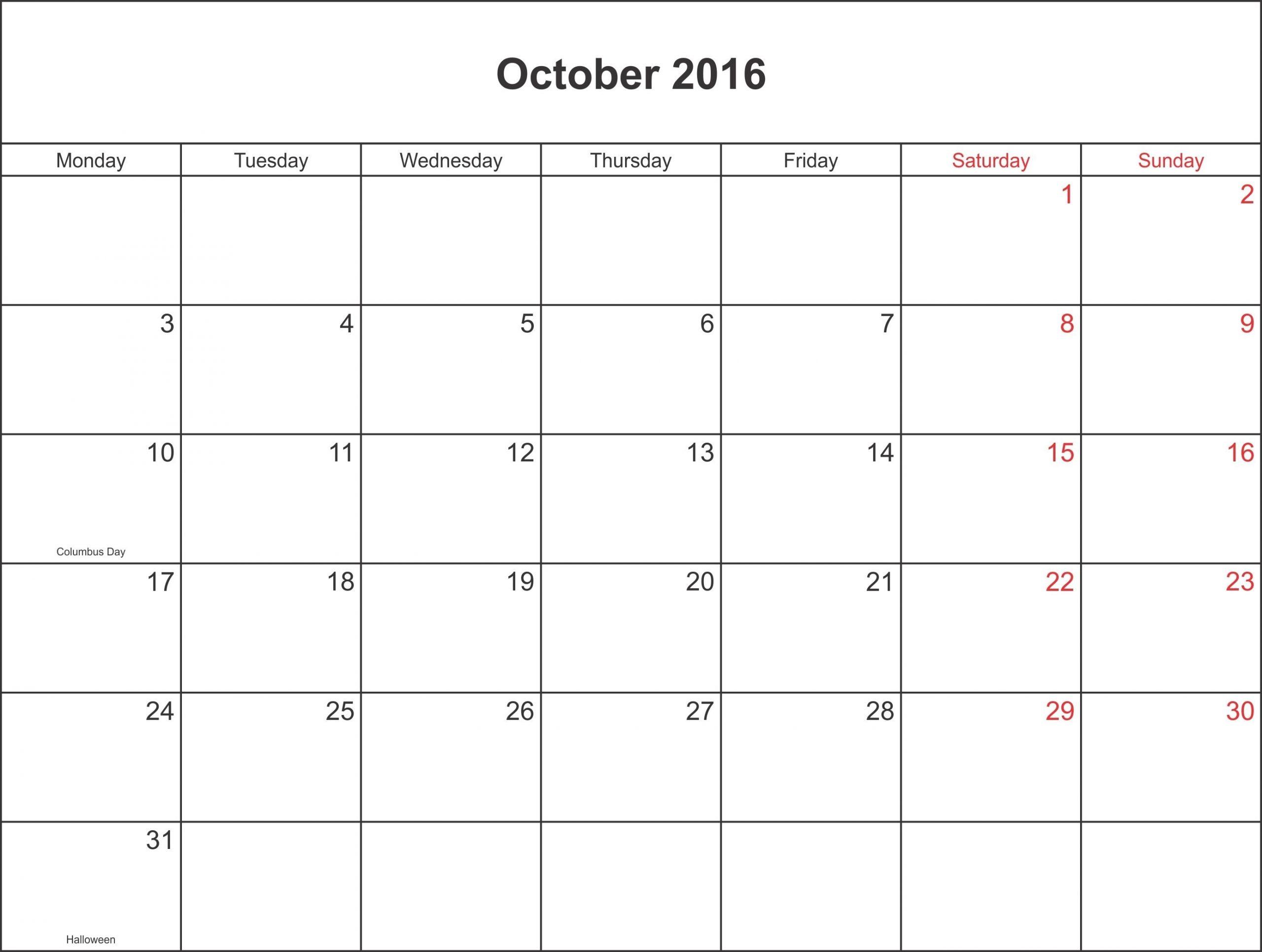 October 2016 Calendar Waterproof | August Calendar