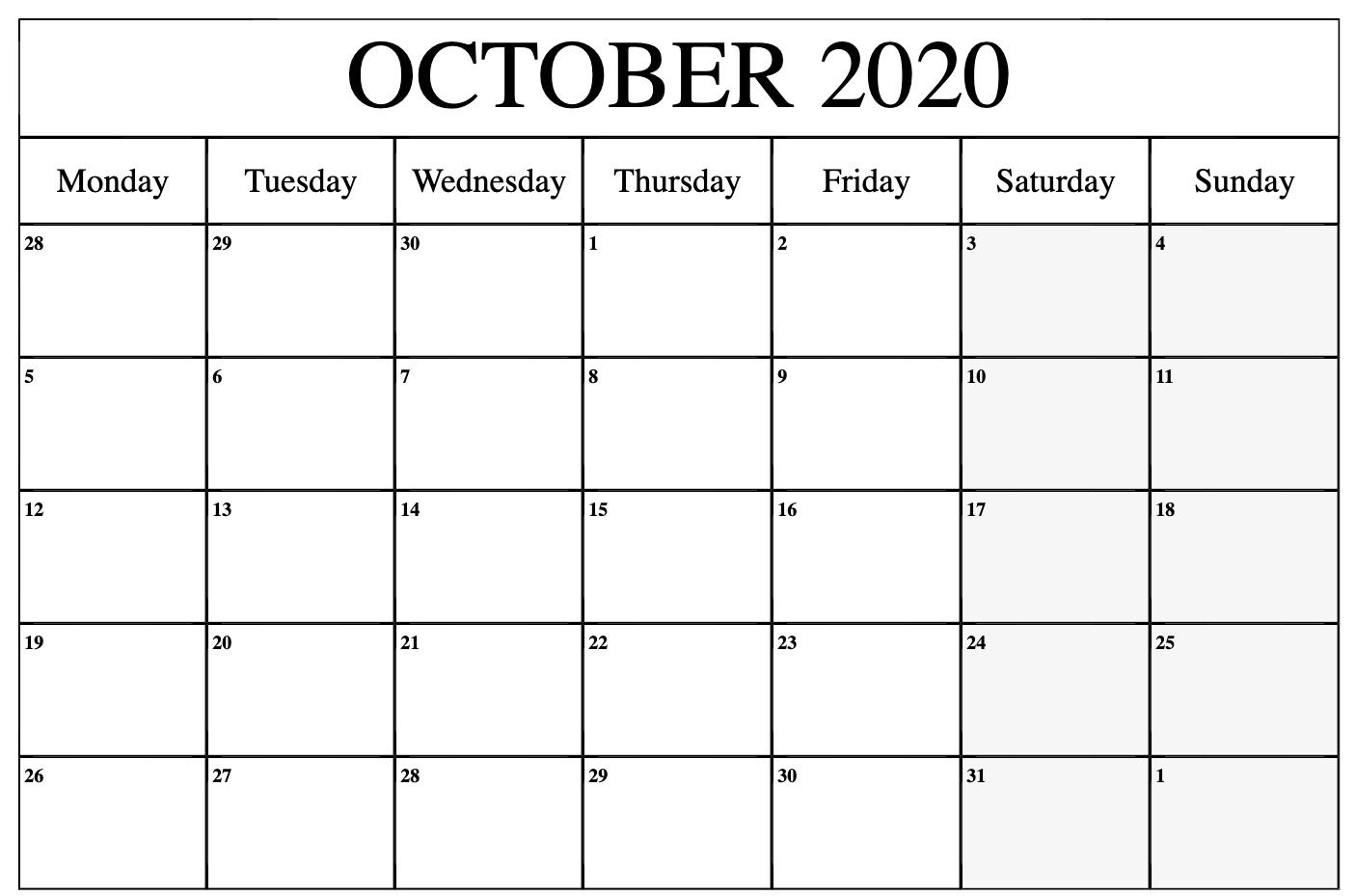 October 2020 Calendar   Printable Calendar Word, Printable throughout 2020 Month Calendar Sunday Through Saturday