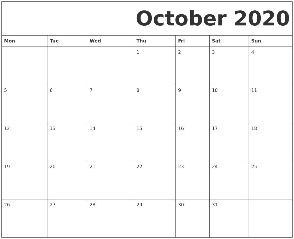 October 2020 Free Printable Calendar throughout Printable Monday Calendar Monday Start