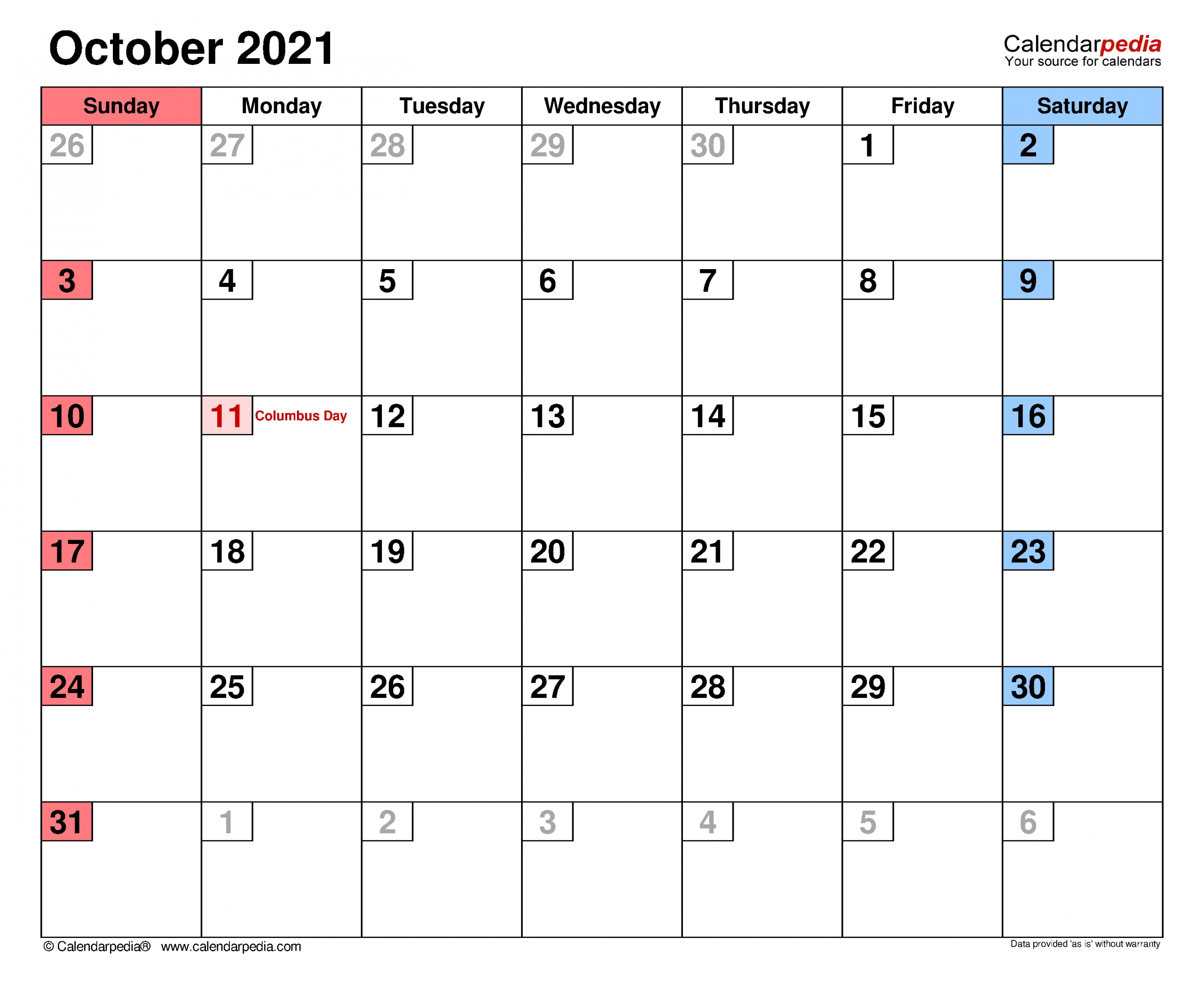 October 2021 Calendar | Templates For Word, Excel And Pdf