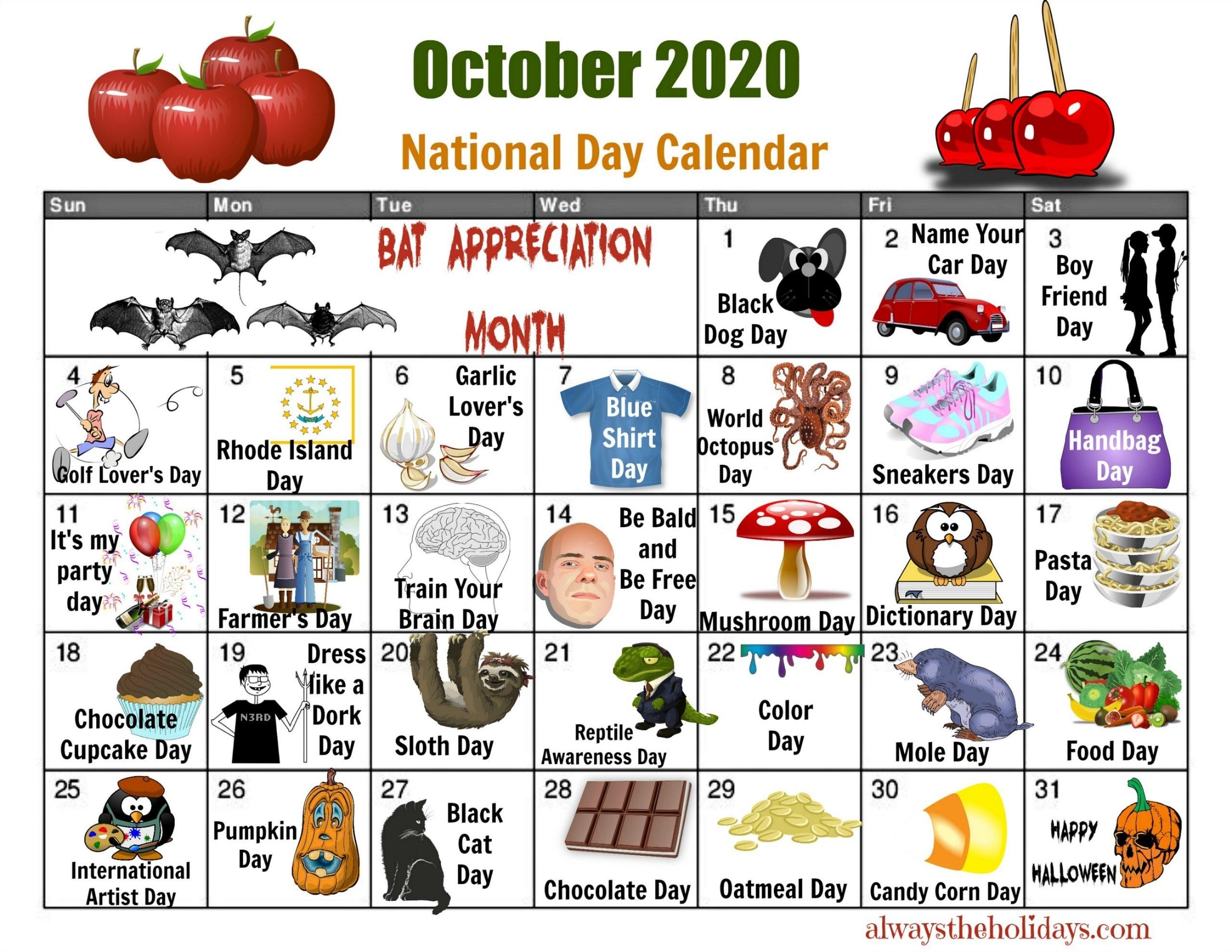 October National Day Calendar - Free Printable Calendars