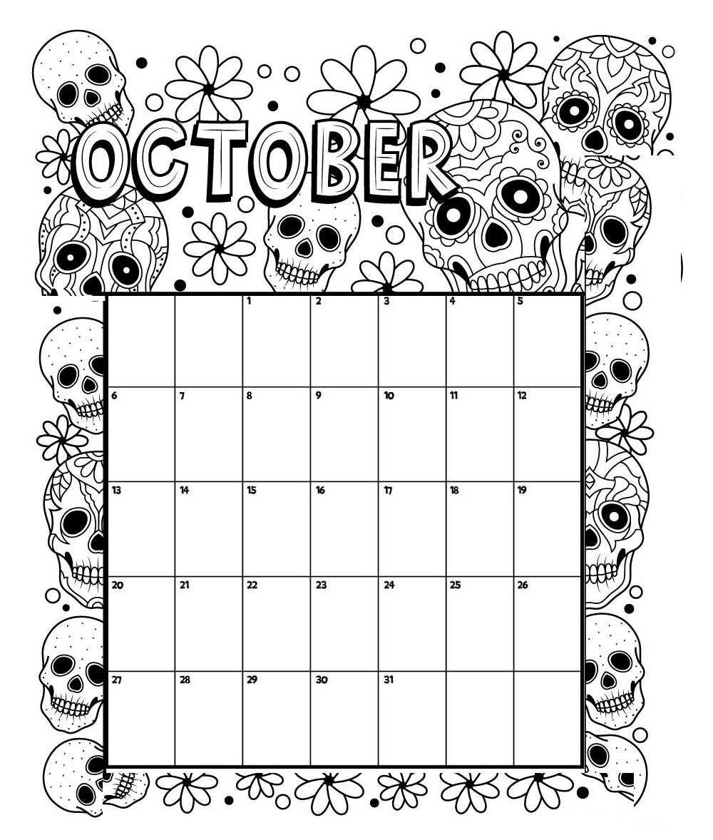 October Printable Coloring Calendar 2019 | Coloring Calendar