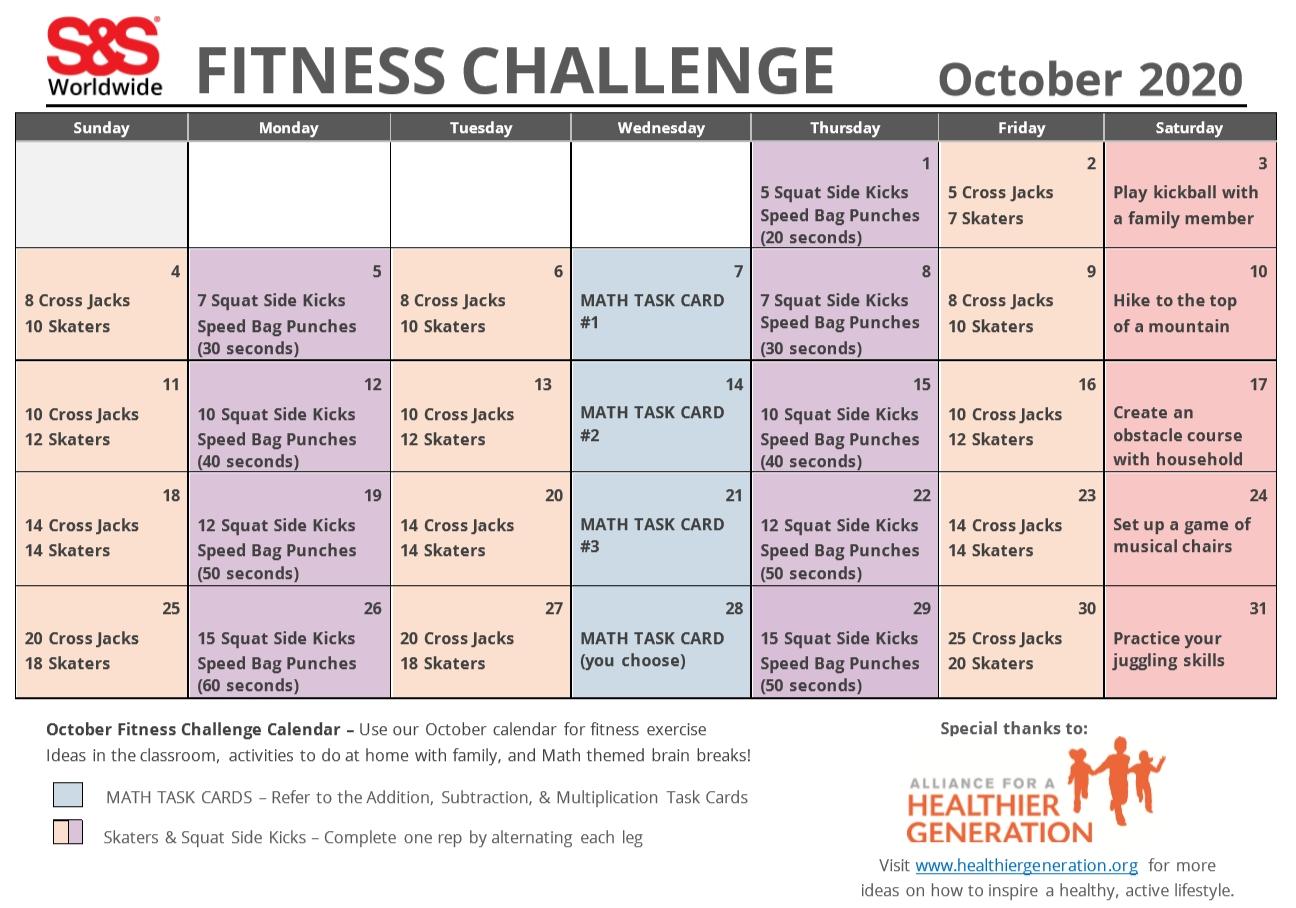 October Printable Fitness Challenge Calendar - S&S Blog
