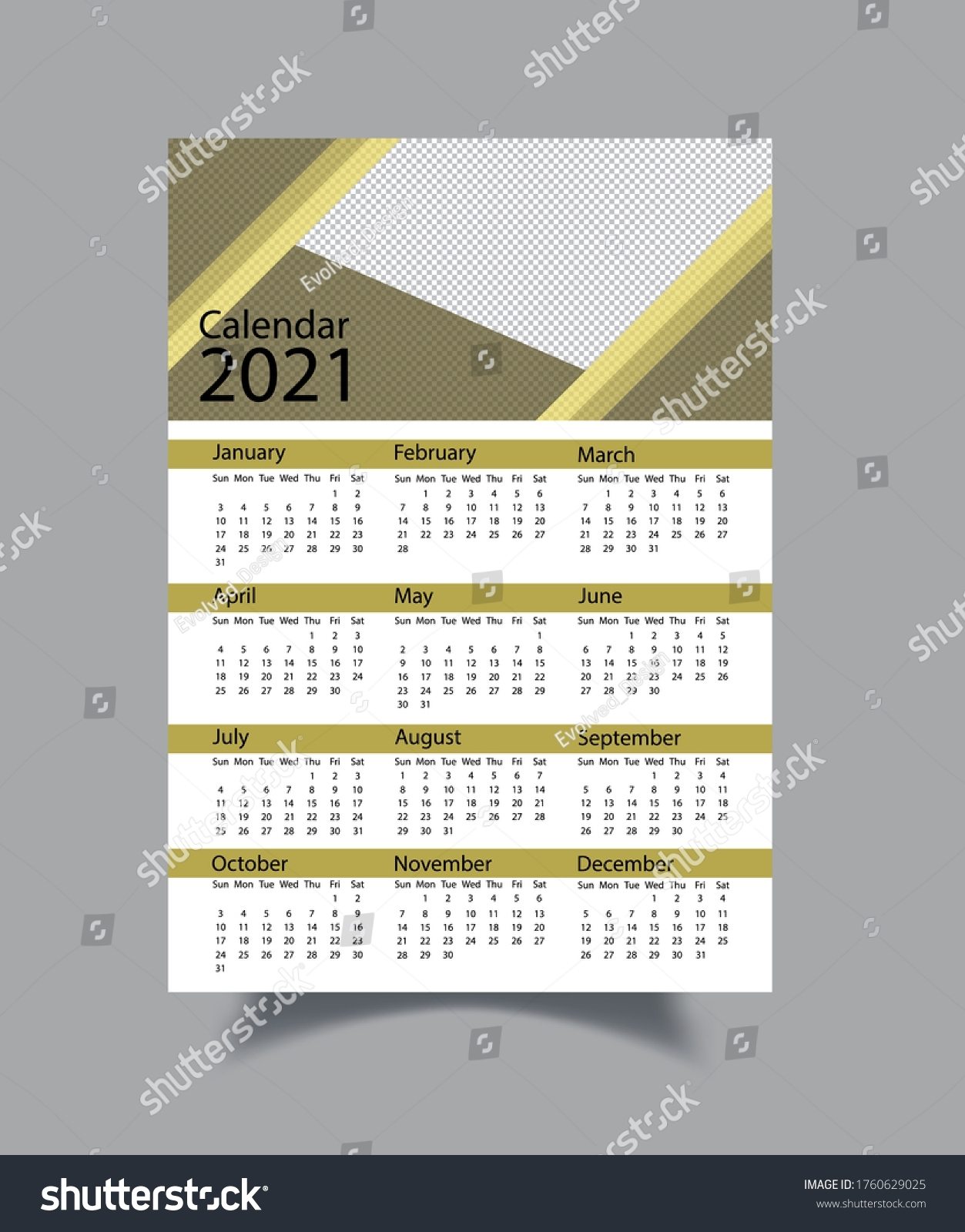 One Page Calendar 2021 Template 2021 Stock Vector (Royalty