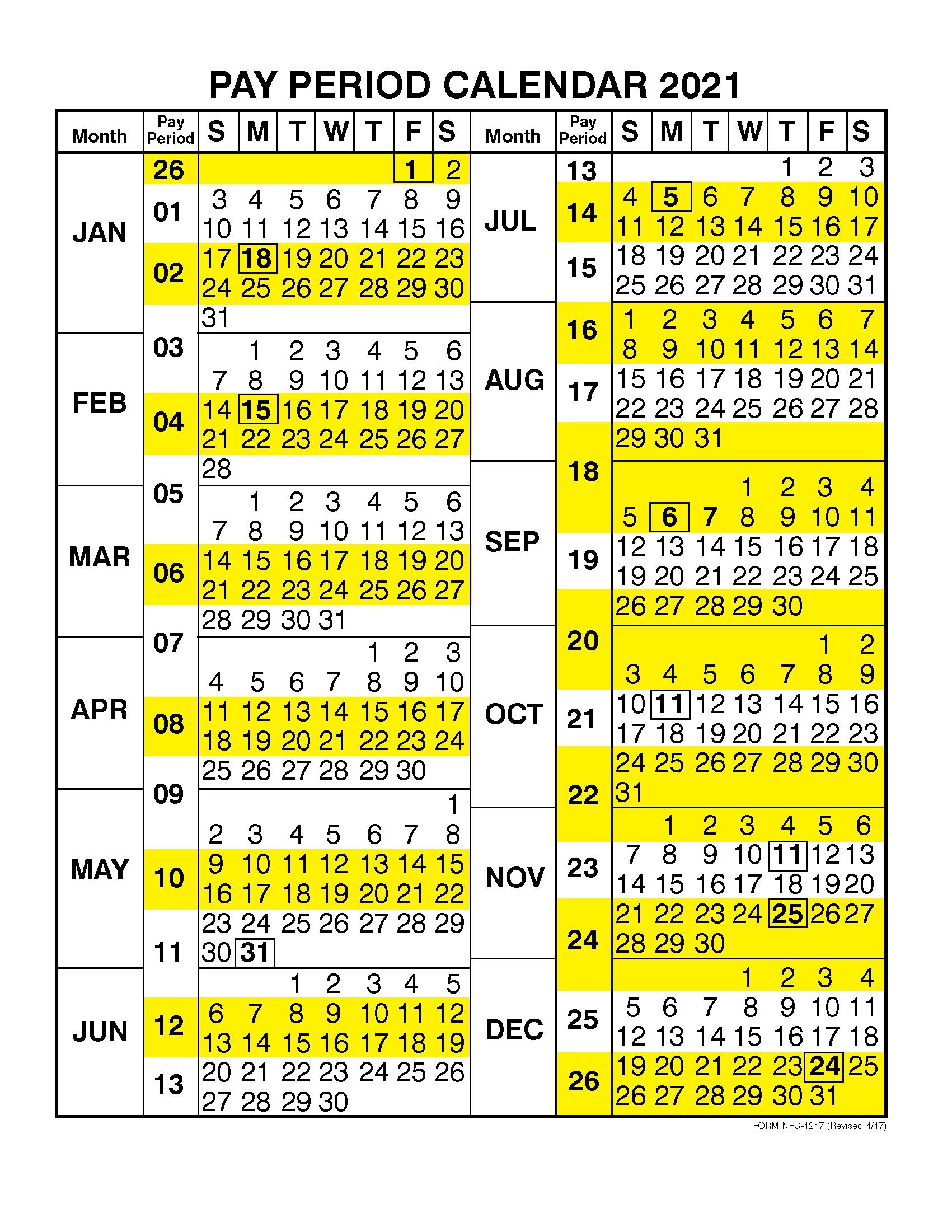 Pay Period Calendar 2021Calendar Year
