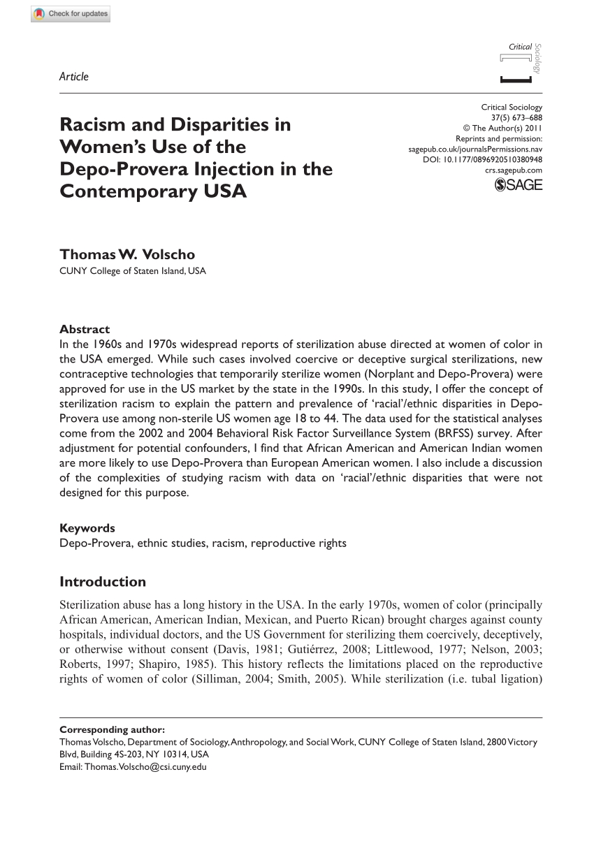 Pdf) Racism And Disparities In Women'S Use Of The Depo