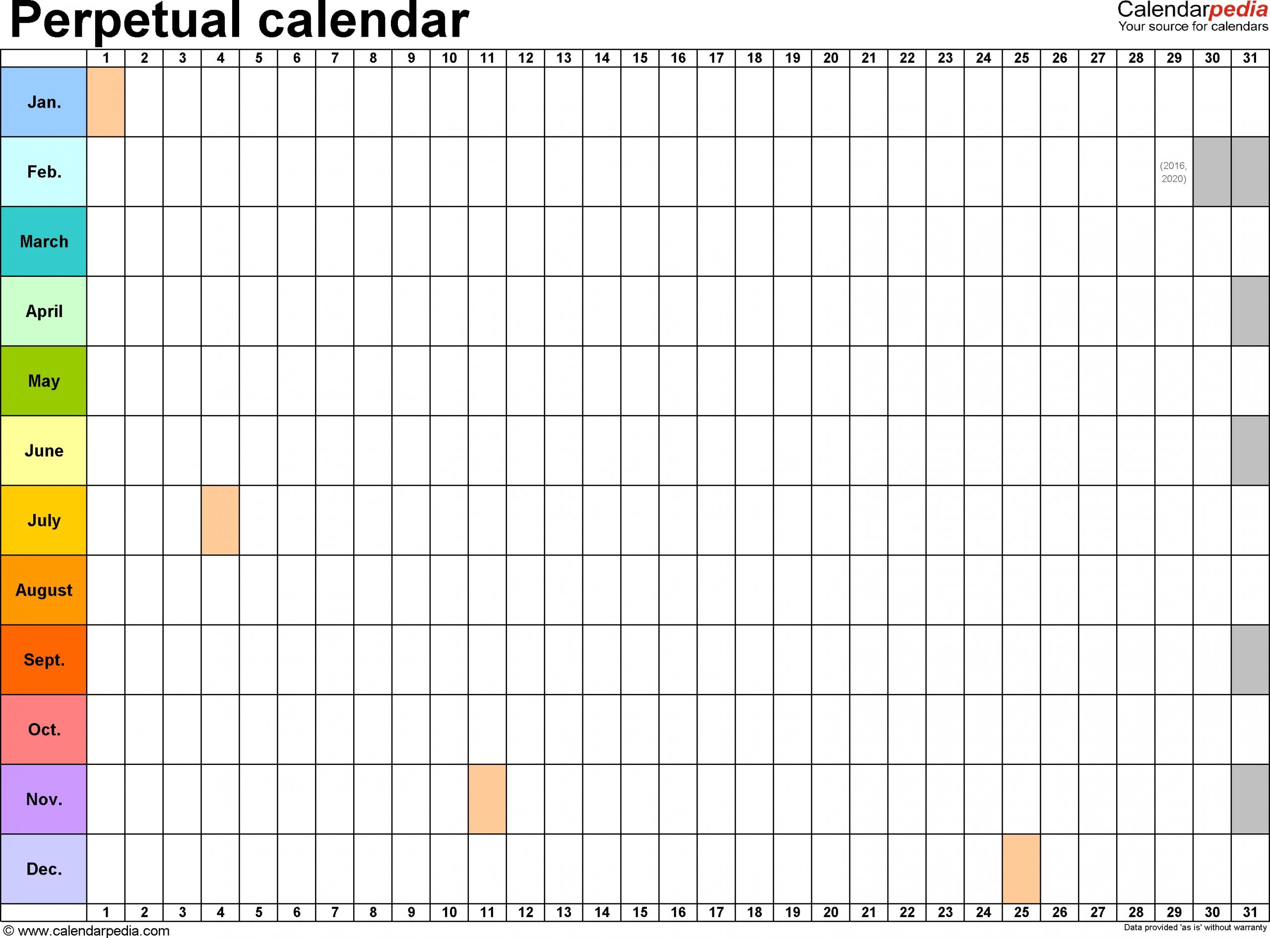 Perpetual Calendars - 7 Free Printable Excel Templates