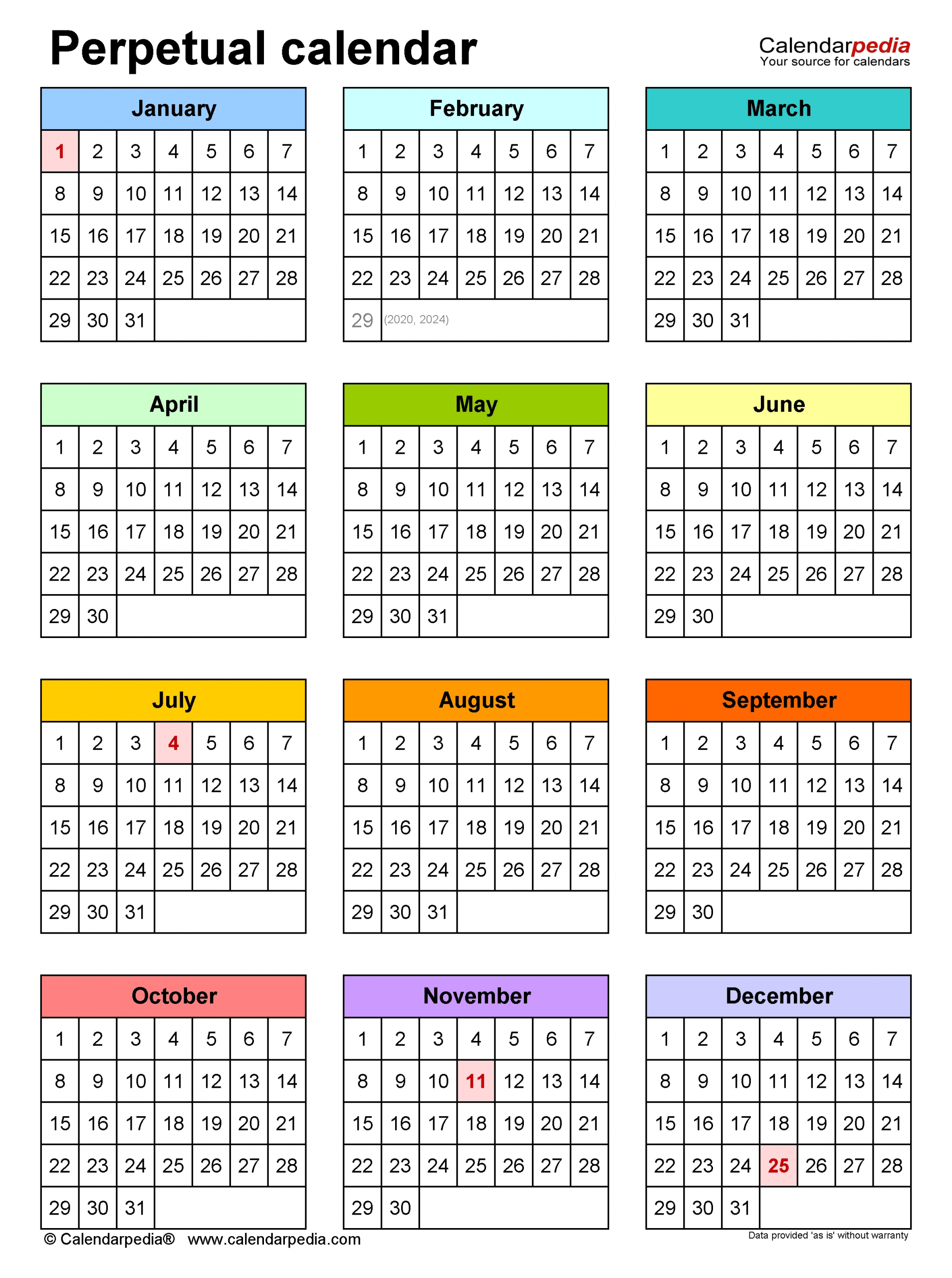 Perpetual Calendars - Free Printable Microsoft Word Templates for Printable Template For Perpetual Calendar
