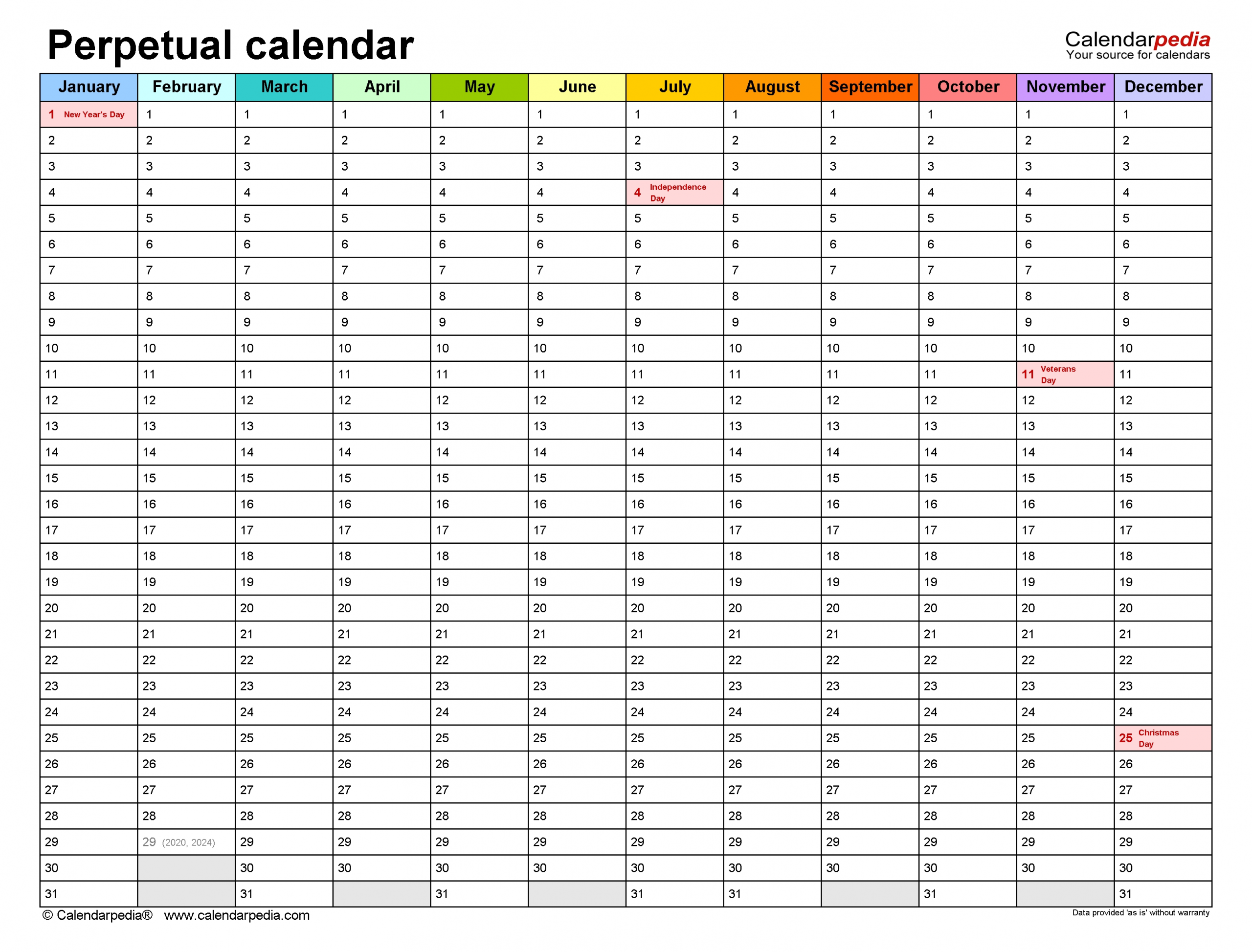 Perpetual Calendars - Free Printable Microsoft Word Templates intended for Printable Template For Perpetual Calendar