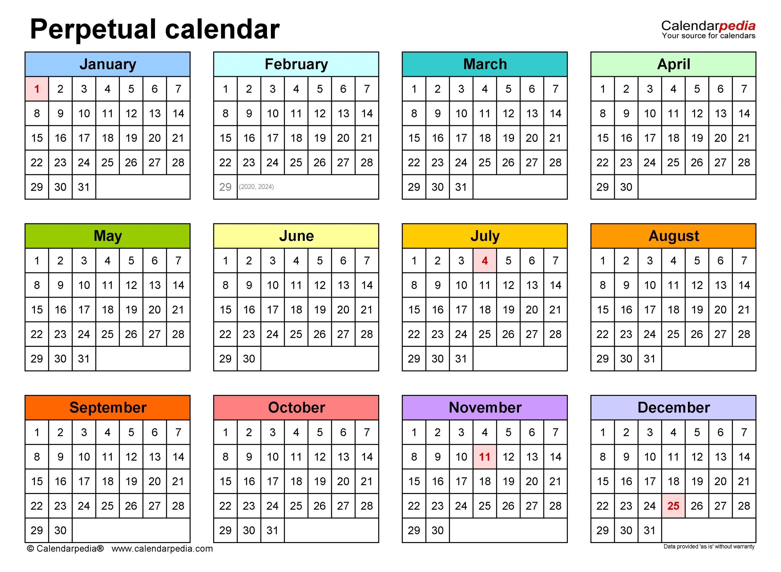 Perpetual Calendars - Free Printable Microsoft Word Templates with regard to Free Printable Perpetual Calendar Template