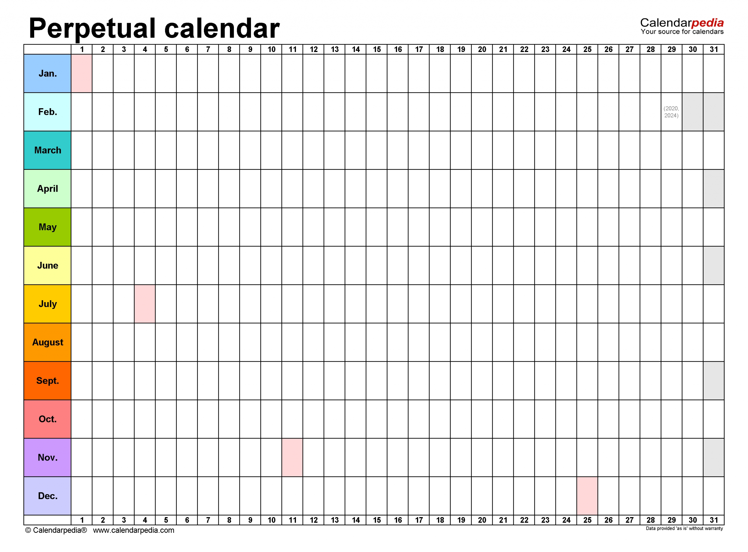 Perpetual Calendars - Free Printable Microsoft Word Templates within Printable Template For Perpetual Calendar