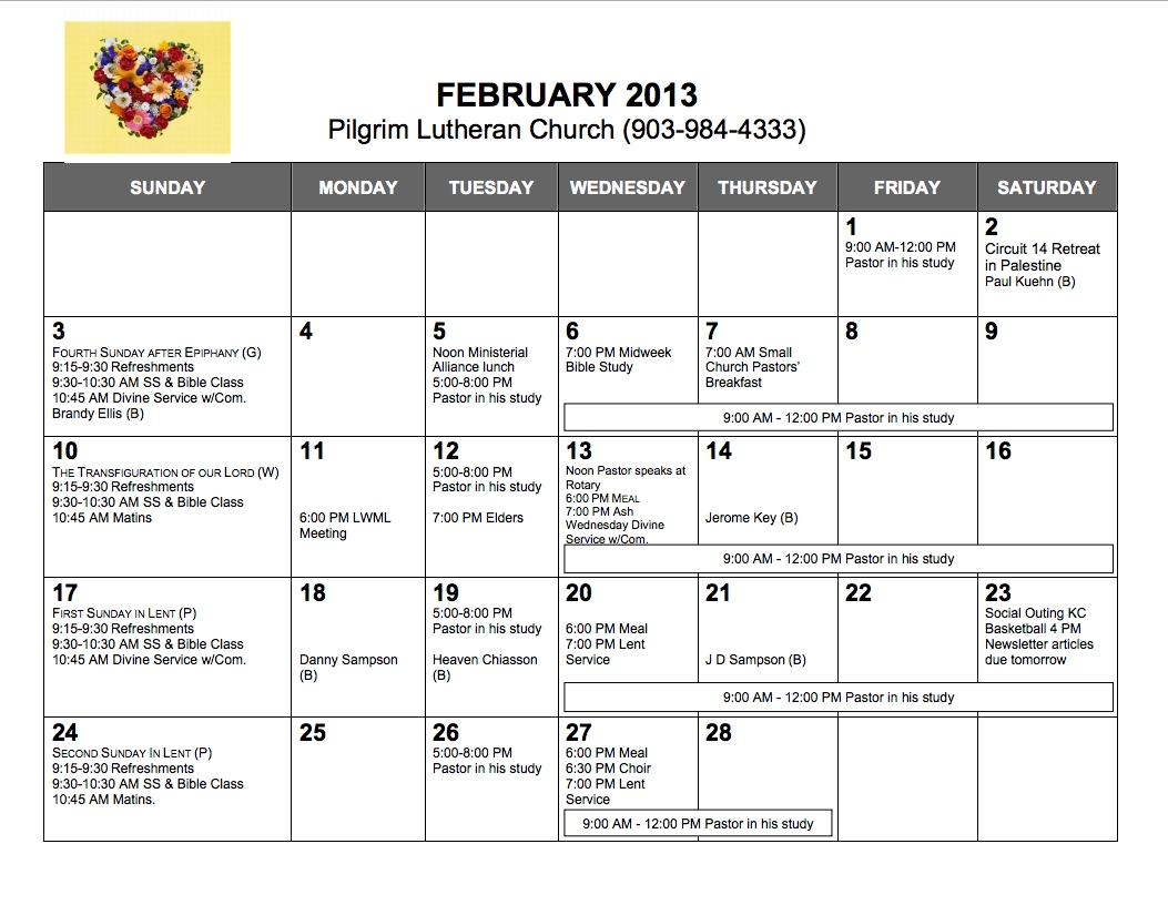 Pilgrim Lutheran Church — Calendar, February 2013