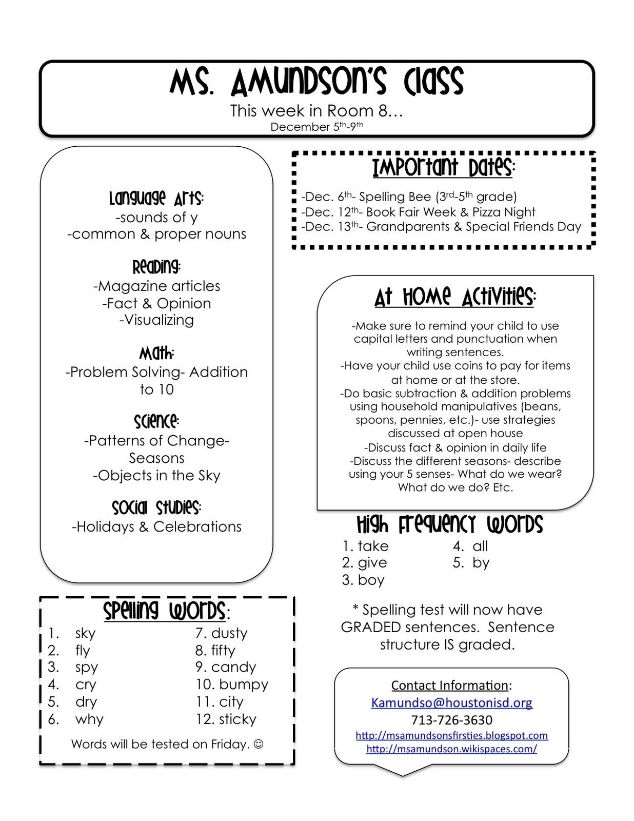 Pin On 1St Grade: Newsletters