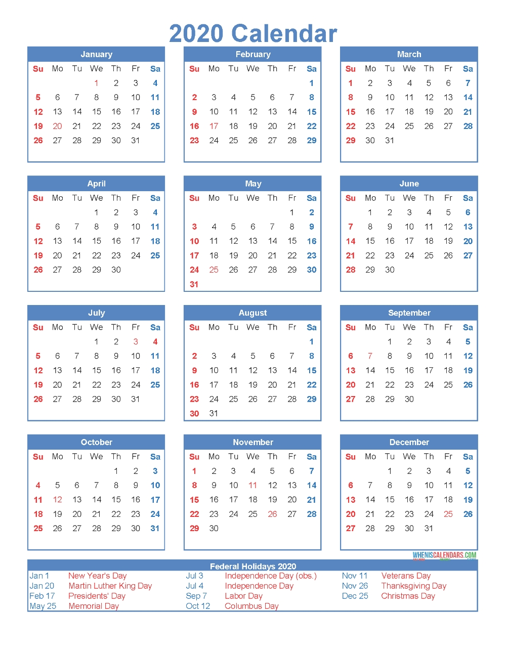 Pin On Calendar Templates with 2020 Free 12 Month Printable Monthly Calendar