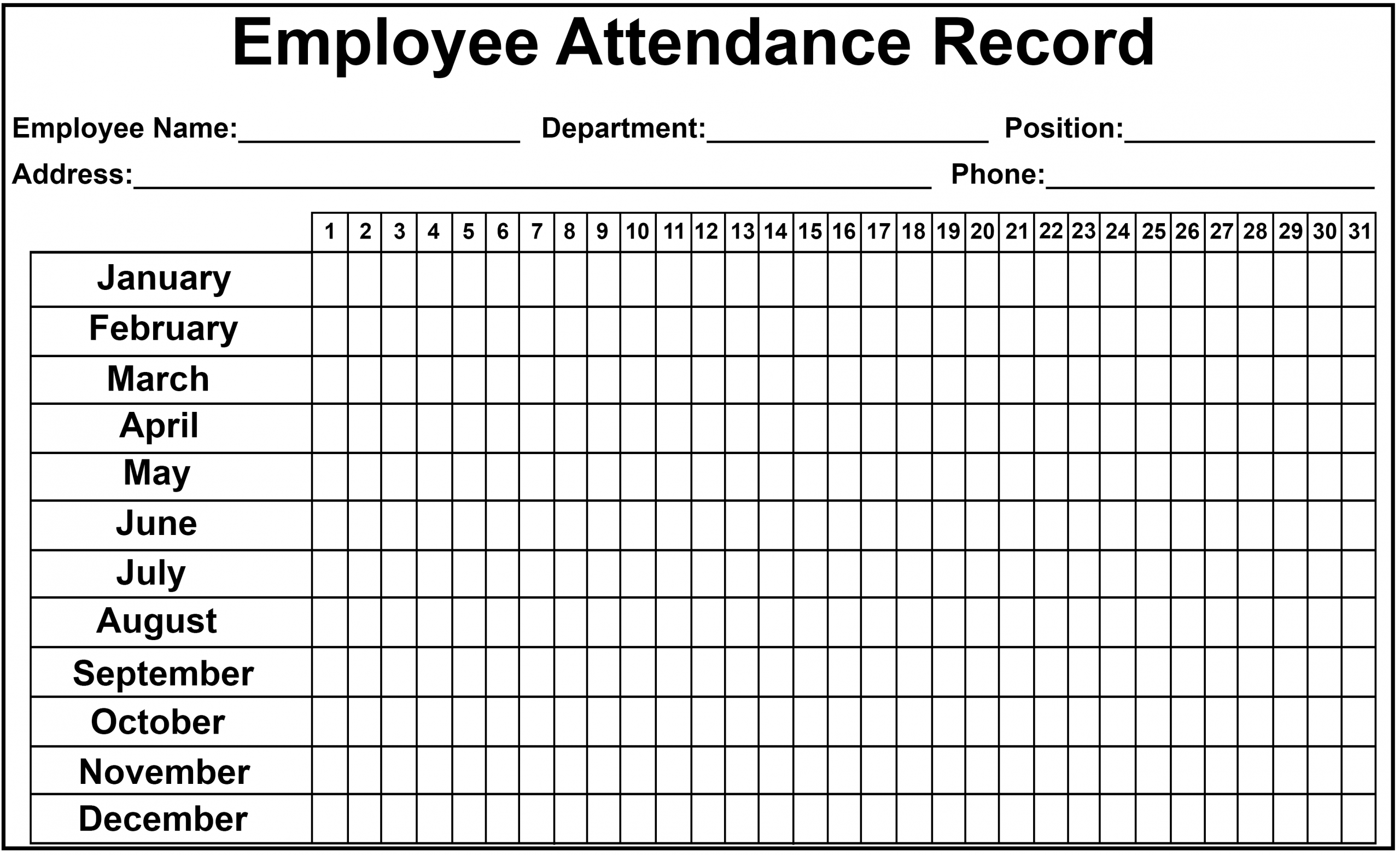 Pin On Employee Attendance Sheet
