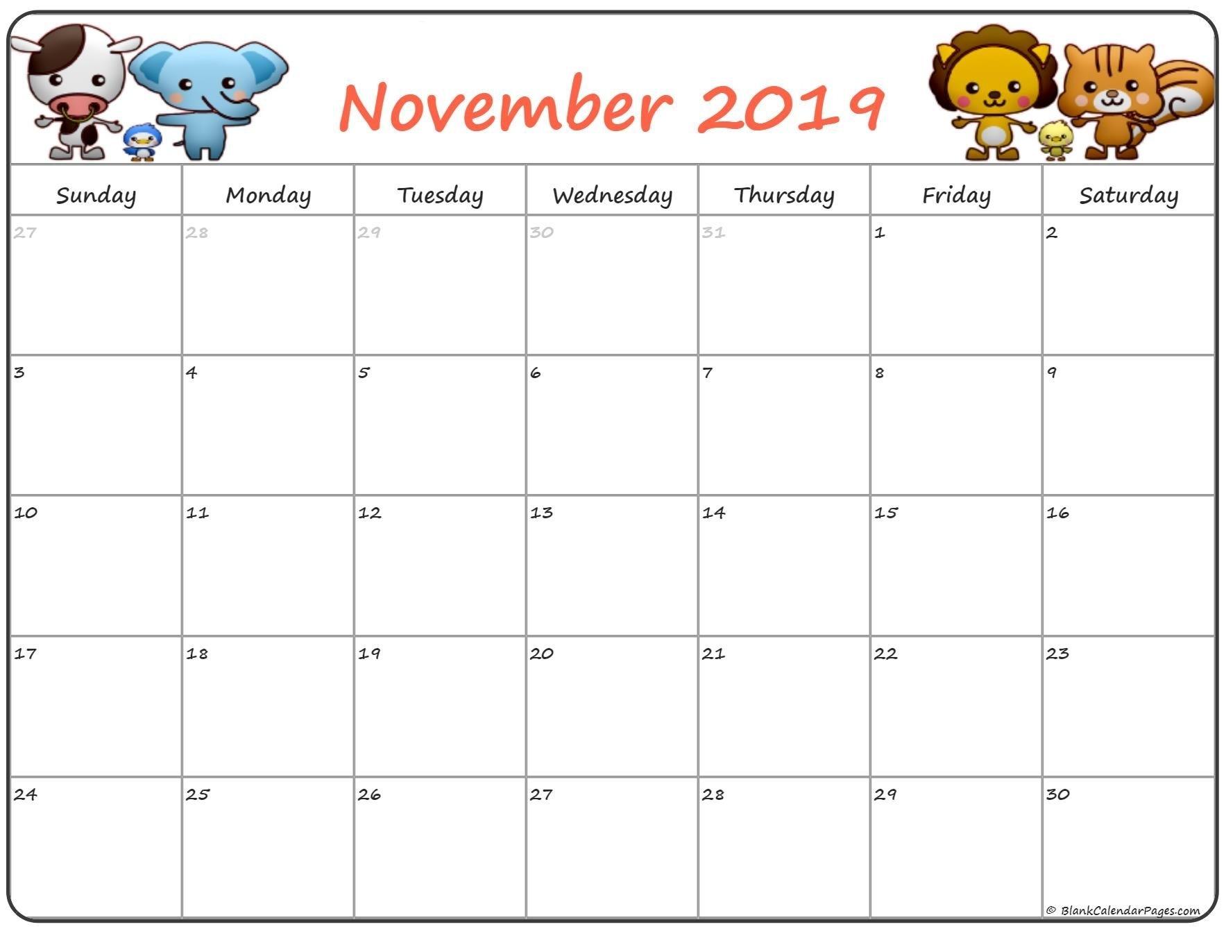 Pin On November Calendars for Free Kindergarten Calendar Template 2019