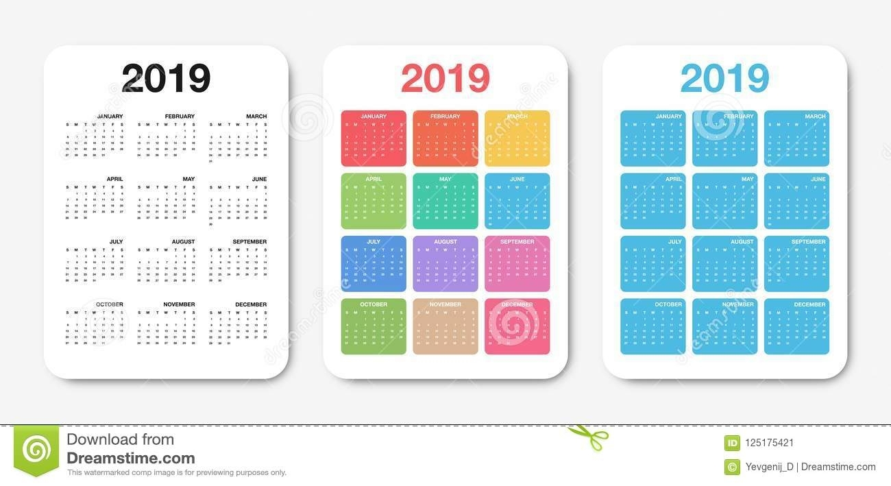 Pocket Calendar 2019 Template. Colorful Compact Calendar