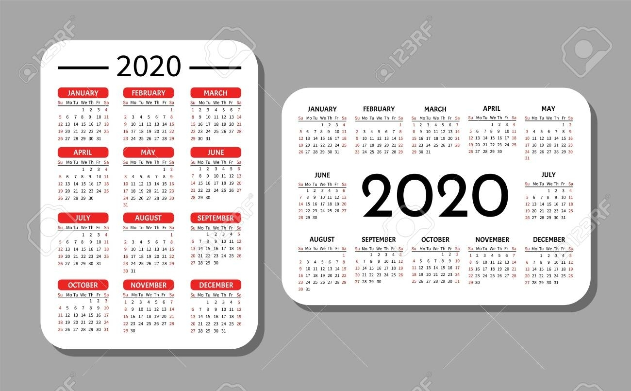 Pocket Calendar Template. Calendar Grid For 2020. Horizontal.. with Printable Calendars 2020 Pocket Size