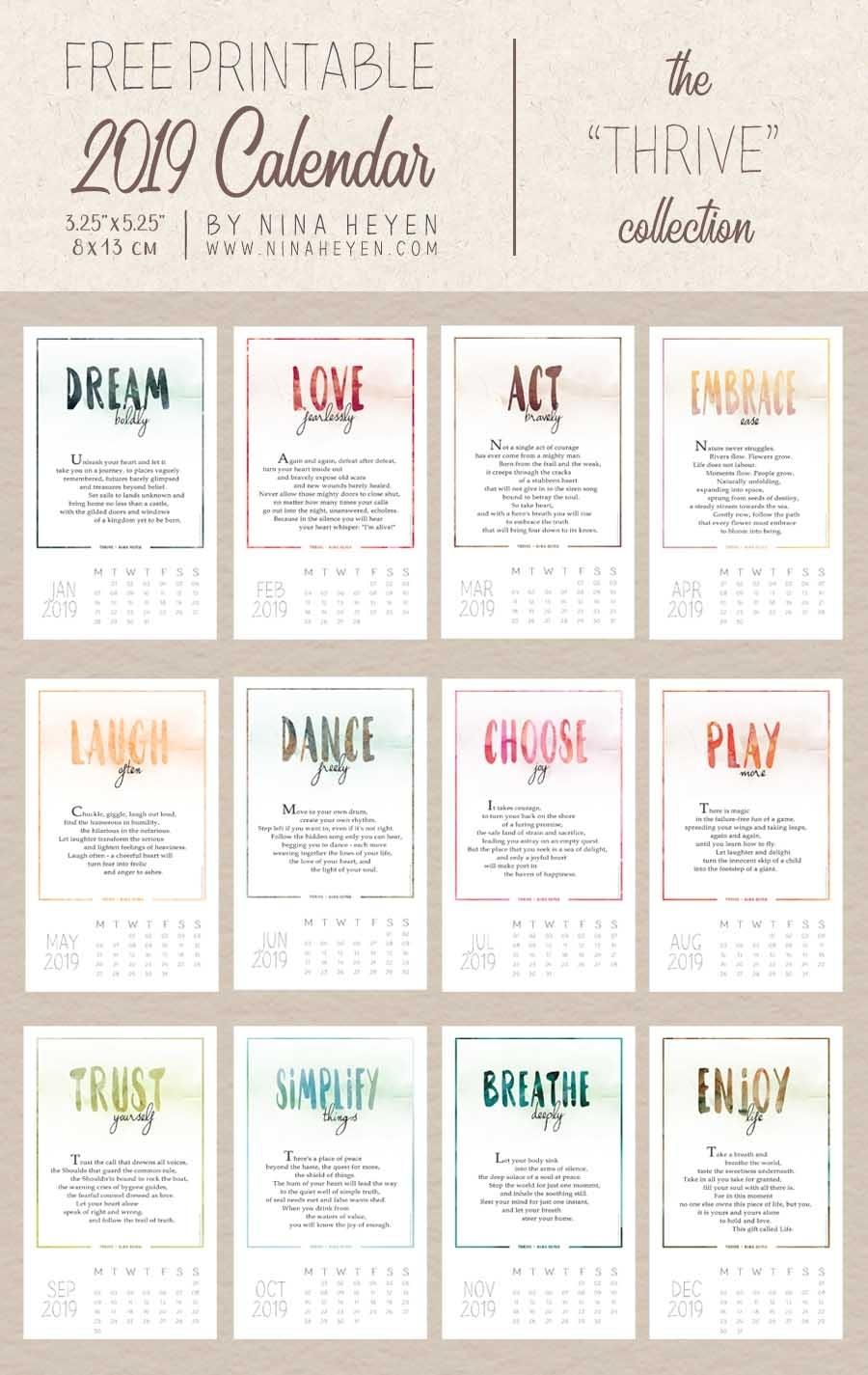 Poetry Calendars   Free Printable 2019 Desk & Wall Calendars regarding Inspiration Calendar At A Glance