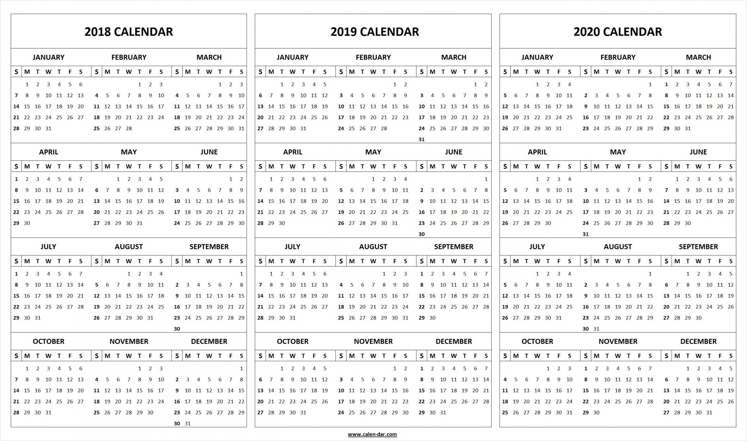Print Blank 2018 2019 2020 Calendar Template | Printable within 2019 2020 Calendar Space To Write