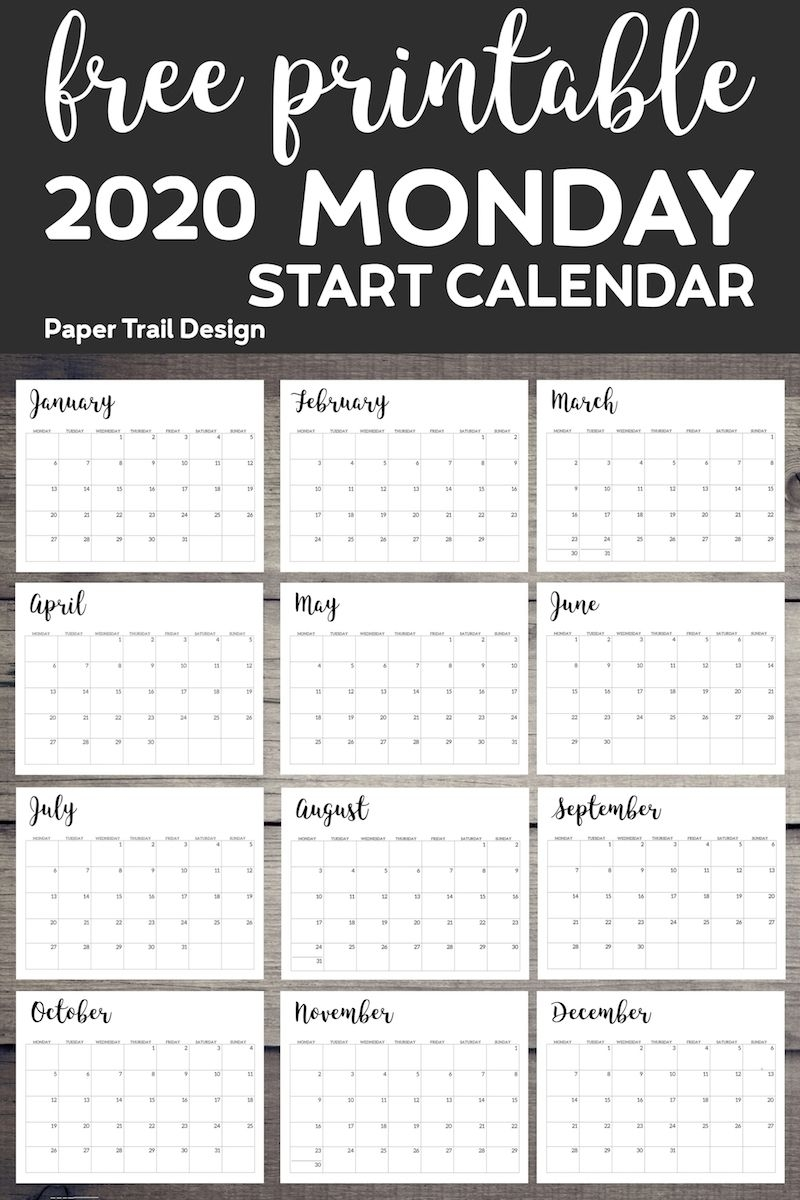 Print Calendar Monday Start In 2020 | Printable Calendar regarding Printable Monday Calendar Monday Start