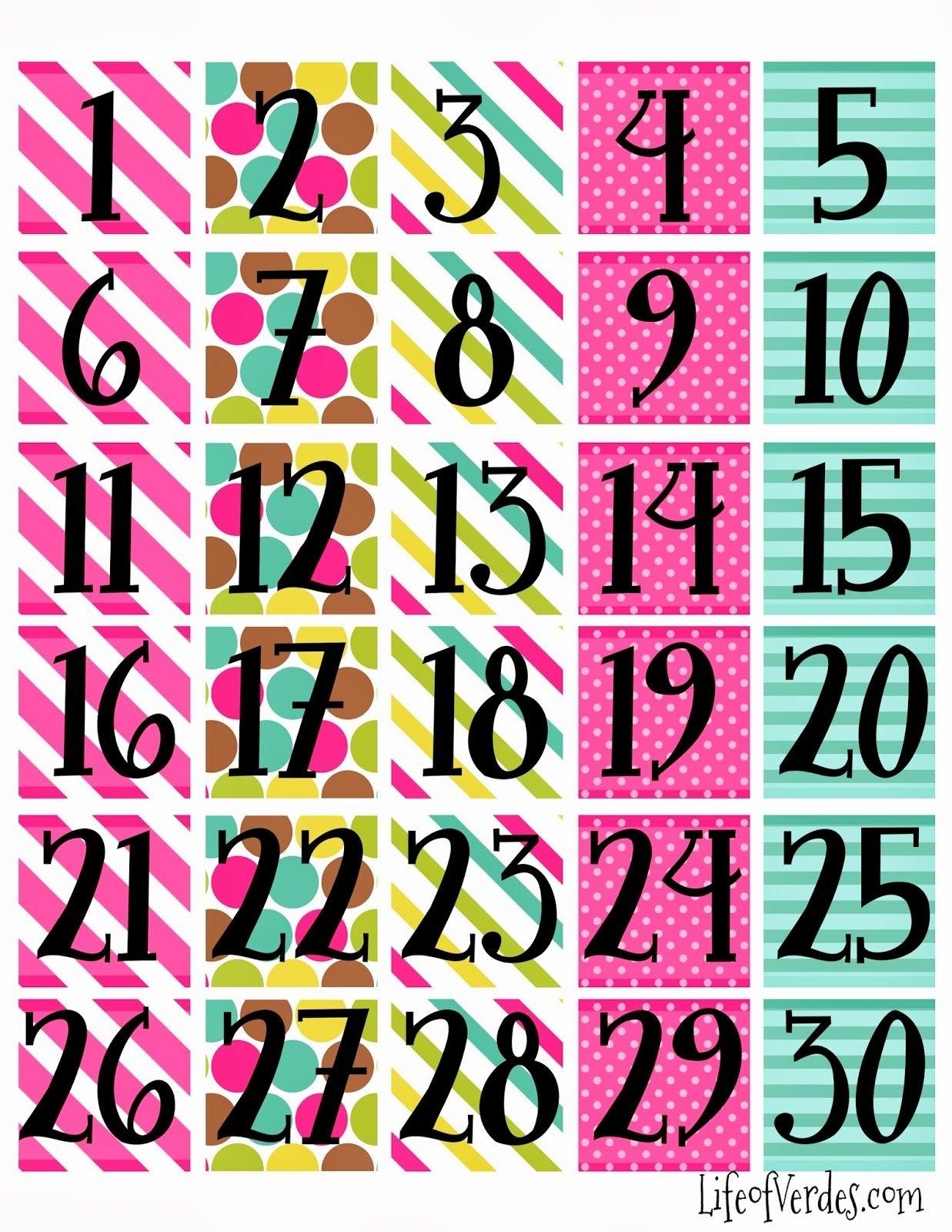 Print Calendar Numbers Free  | Printable Calendar Numbers