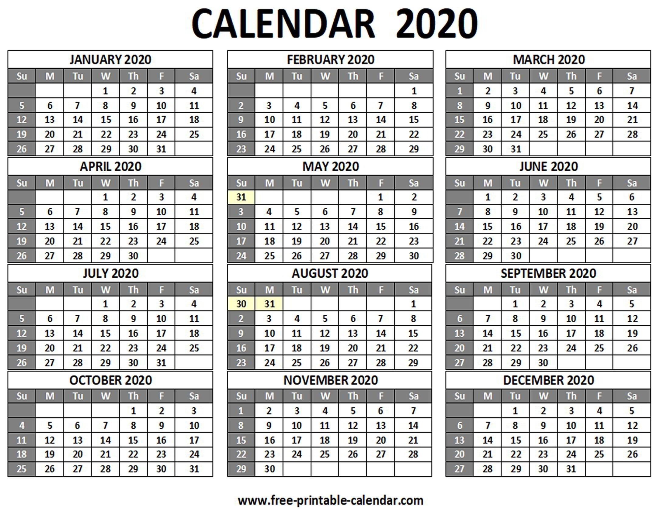 Printable 2020 Calendar - Free-Printable-Calendar pertaining to 2020 12 Month Calendar Printable