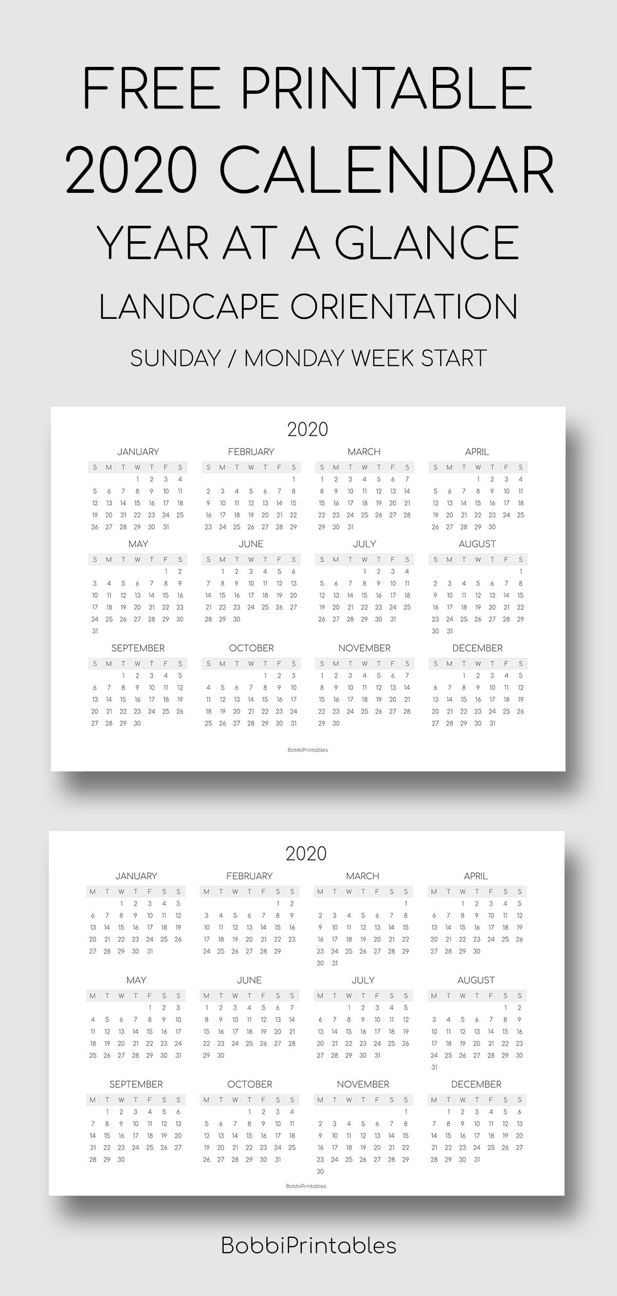 Printable 2020 Calendar - Landscape In 2020 | Landscape within 2020 Calendar Landscape Year At A Glance