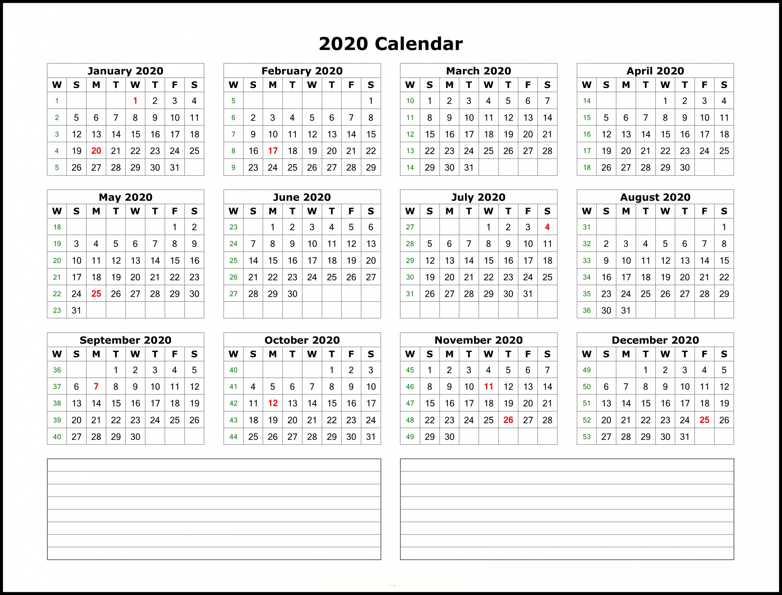 Printable 2020 Calendar With Notes | Free Printable Calendar pertaining to Free Printable Calendar With Space To Write