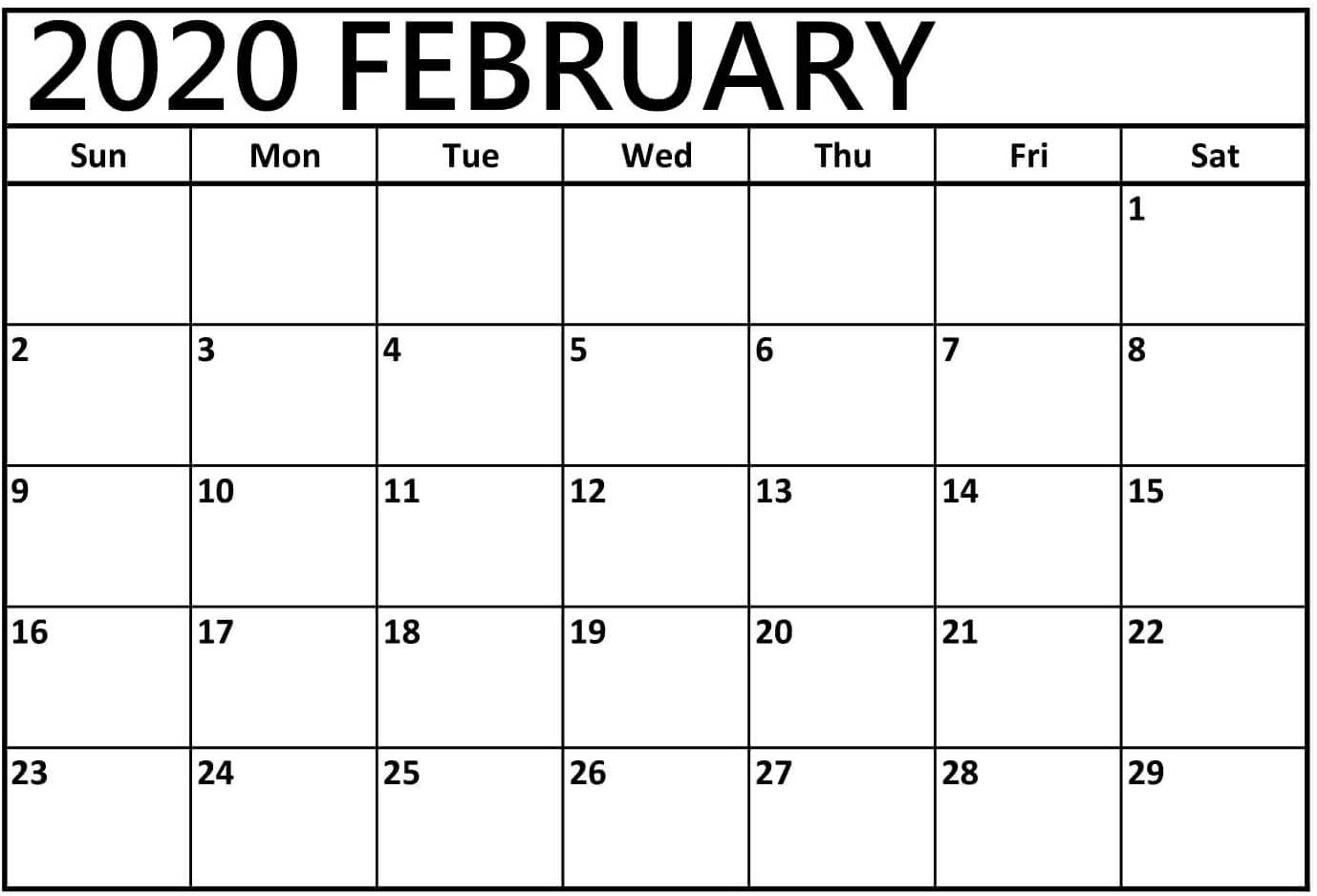 Printable 2020 February Calendar Template With Holidays with Individual Monthly Printable Calendars For 2020 And 2021