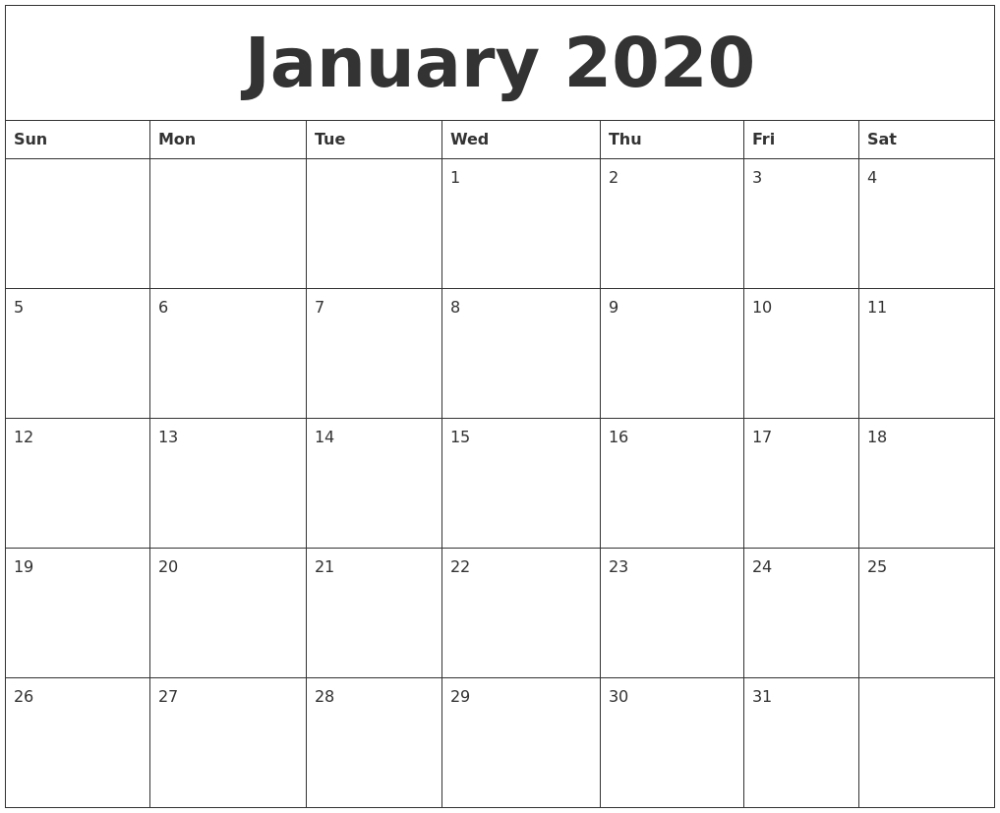 Printable 2020 Monthly Calendars Starting With Monday within 2020 Free Printable Calendars That Start With Monday