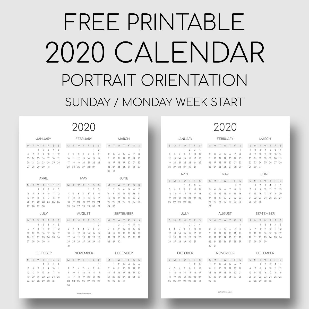 Printable 2020 Year At A Glance Calendar - Portrait Orientation pertaining to Year At A Glance Calendar 2020 Free Printable Mondayt Start